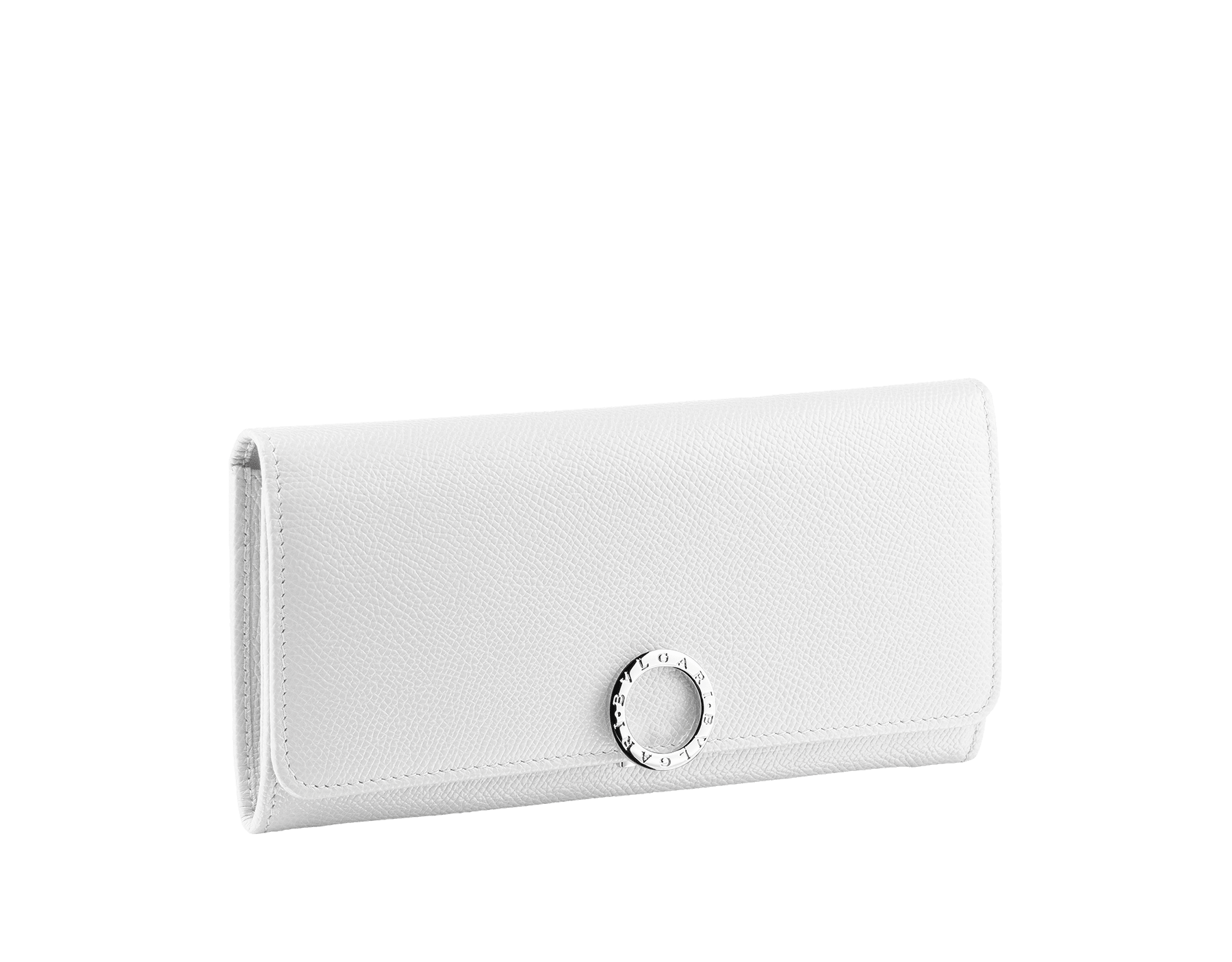 Wallet pochette in lilium grain calf leather and white nappa. Brass light gold plated hardware and iconic BVLGARI BVLGARI closure clip. Nine credit card slots, two bill compartments, one zipped coin case. 282017 image 1