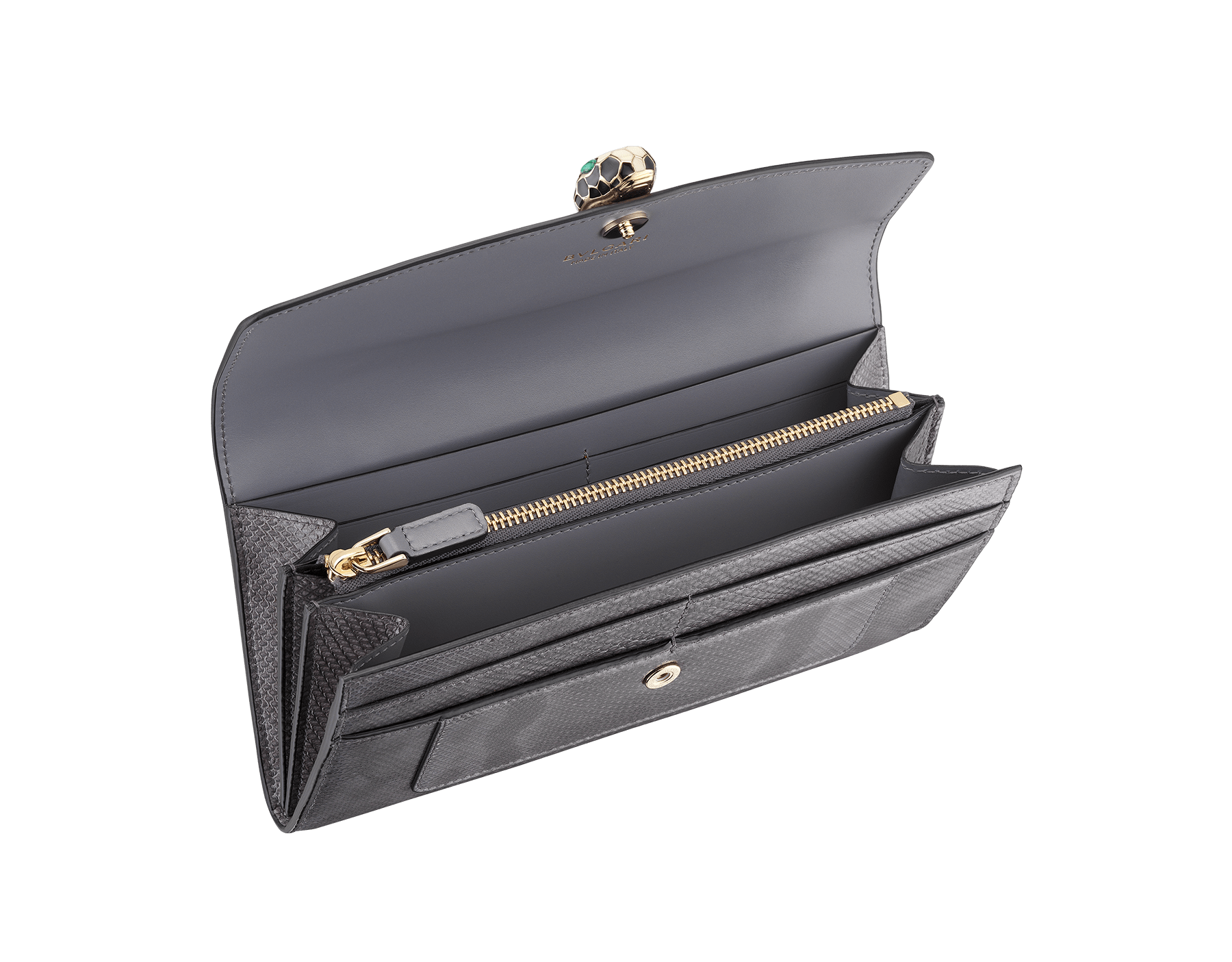 Serpenti Forever wallet pochette in rhapsody opal shiny karung skin and calf leather. Iconic snakehead stud closure in black and white enamel, with green malachite eyes 287255 image 2