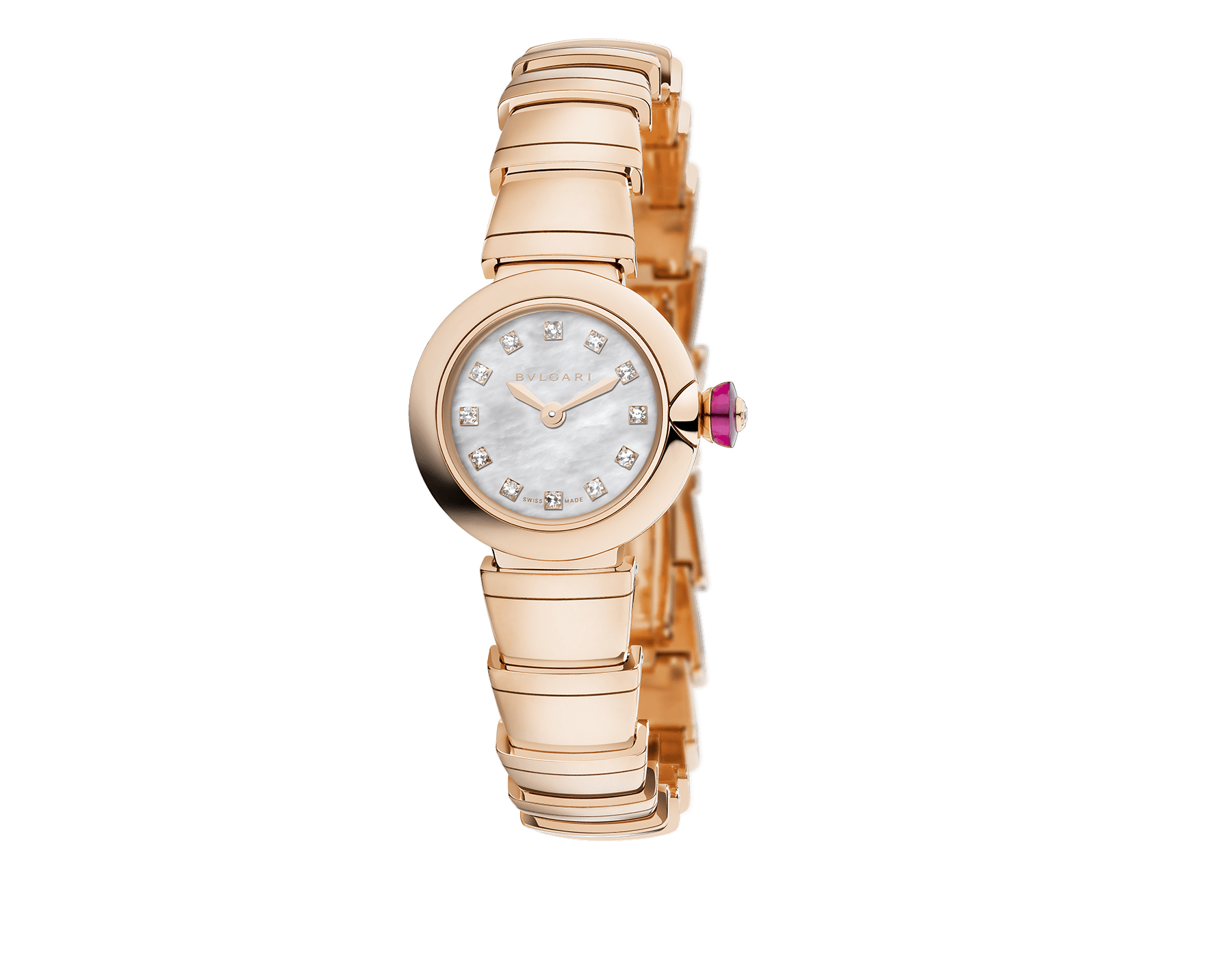 Piccola Lvcea watch in 18 kt rose gold case and bracelet, with white mother-of-pearl dial and diamond indexes. 102502 image 1