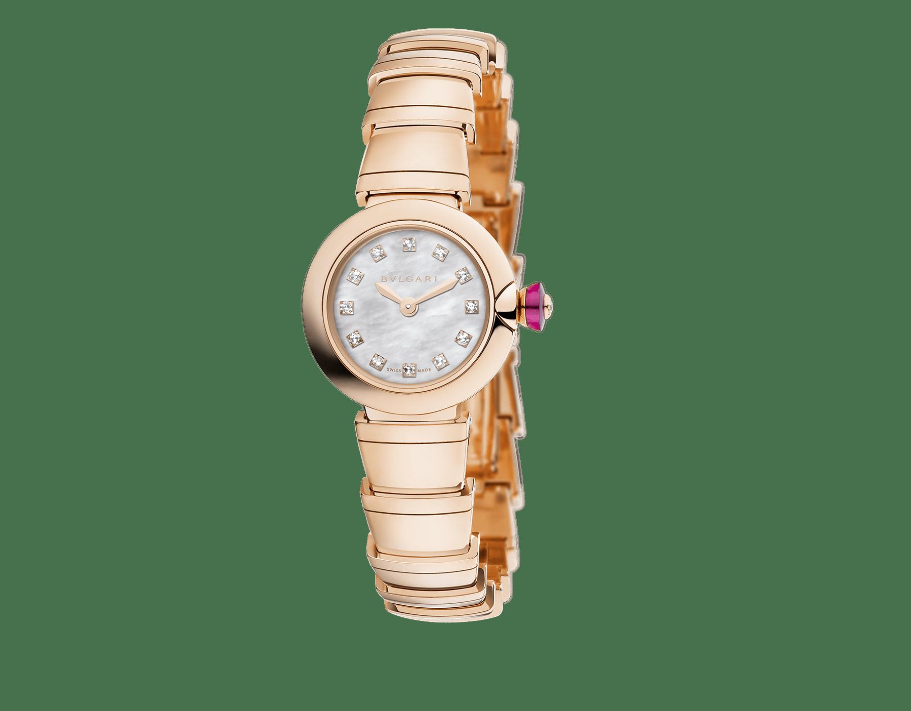 Orologio Piccola LVCEA con cassa e bracciale in oro rosa 18 kt, quadrante bianco in madreperla e indici con diamanti. 102502 image 1