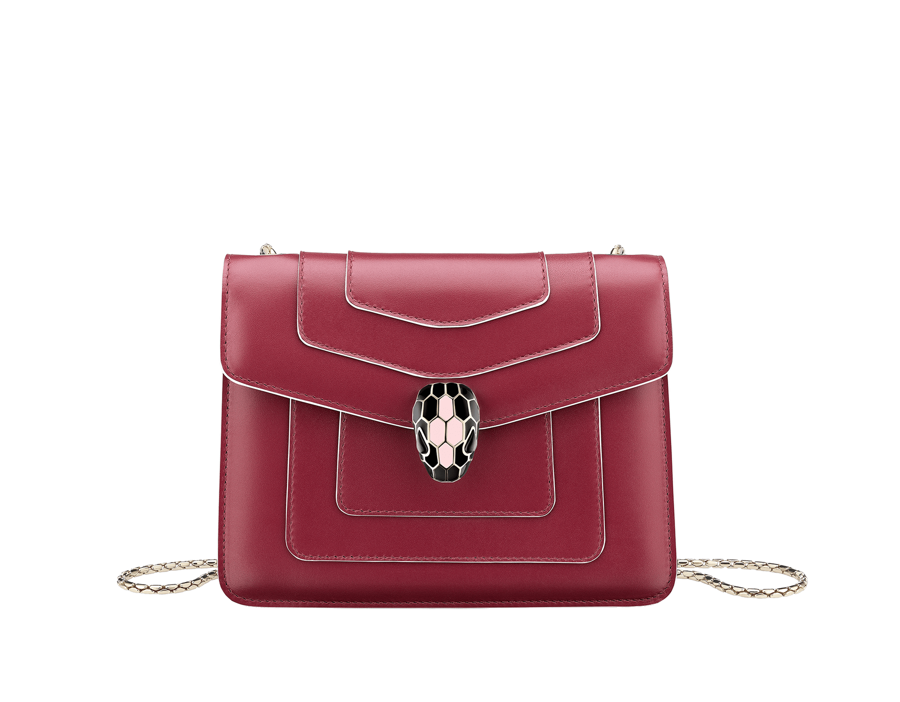 Serpenti Forever crossbody bag in Roman garnet calf leather, with rosa di francia calf leather sides. Iconic snakehead closure in light gold plated brass embellished with black and white enamel and green malachite eyes. 289035 image 1