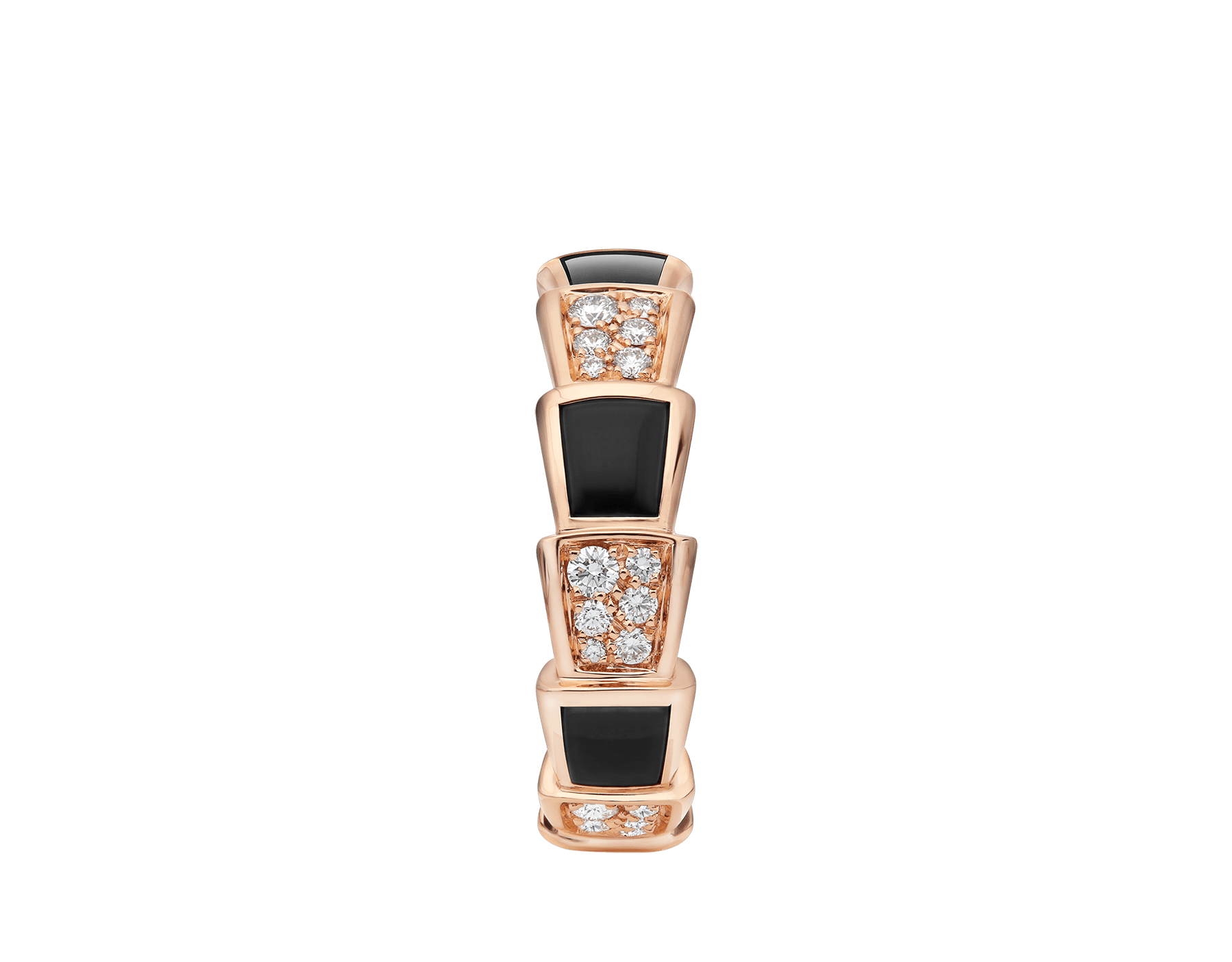 Serpenti Viper 18 kt rose gold ring set with onyx elements and pavé diamonds (0.34 ct) AN858711 image 2