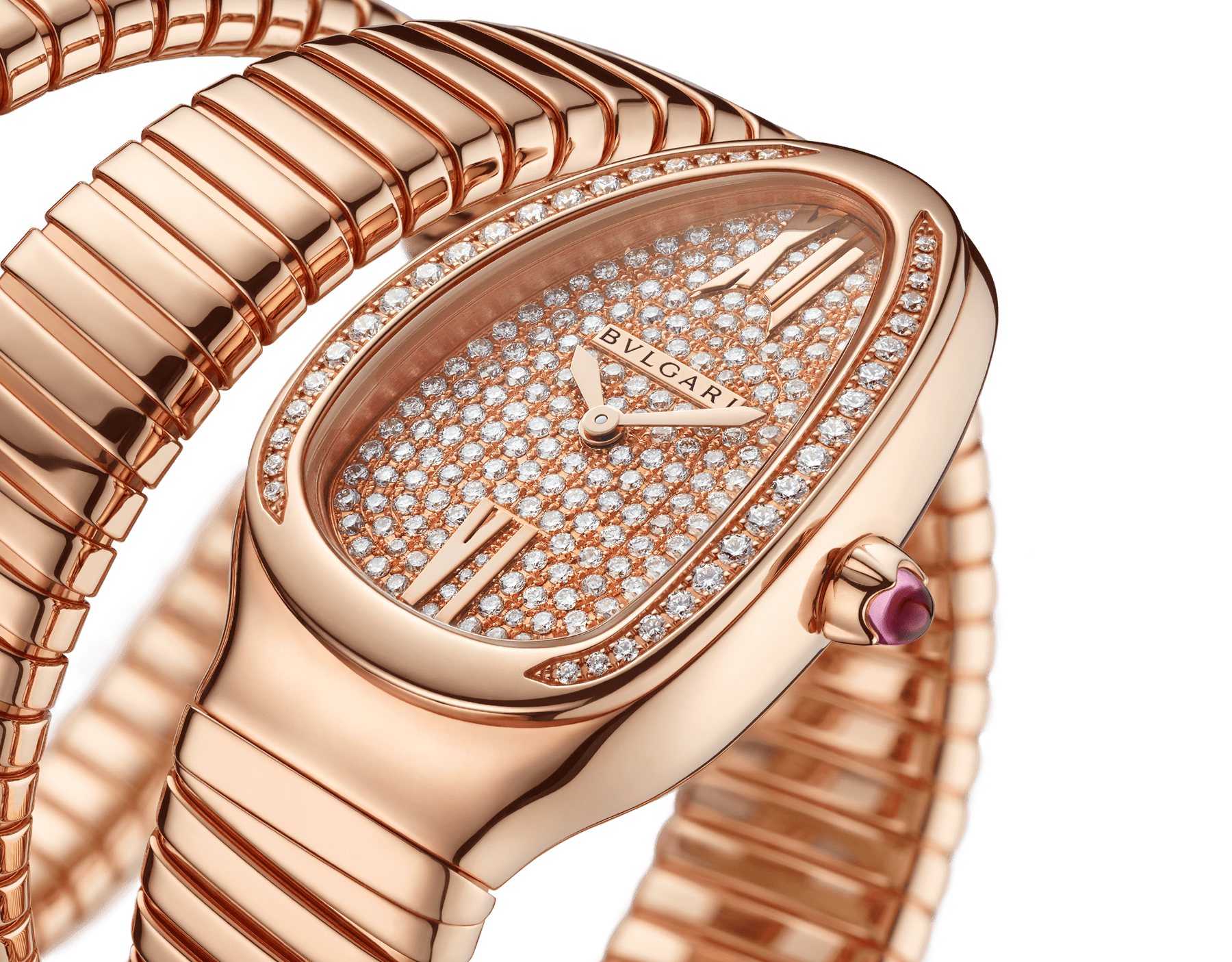 Serpenti Tubogas double spiral watch with 18 kt rose gold case set with brilliant cut diamonds, 18 kt rose gold dial set with full pavé brilliant cut diamonds and 18 kt rose gold bracelet. 101956 image 3