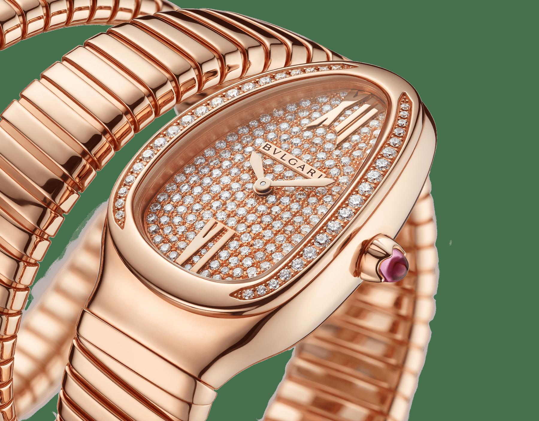 Reloj Serpenti Tubogas de dos vueltas con caja en oro rosa de 18qt con diamantes talla brillante engastados, esfera en oro rosa de 18qt con engaste integral de diamantes talla brillante y brazalete en oro rosa de 18qt. 101956 image 3
