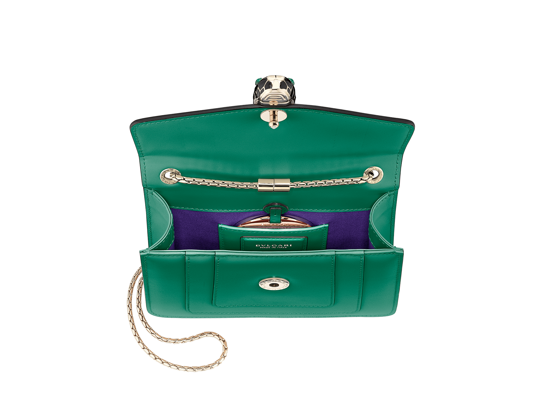 Shoulder bag Serpenti Forever in emerald green calf leather with brass light gold plated Serpenti head closure in black and white enamel with eyes in malachite. 422-CLa image 4