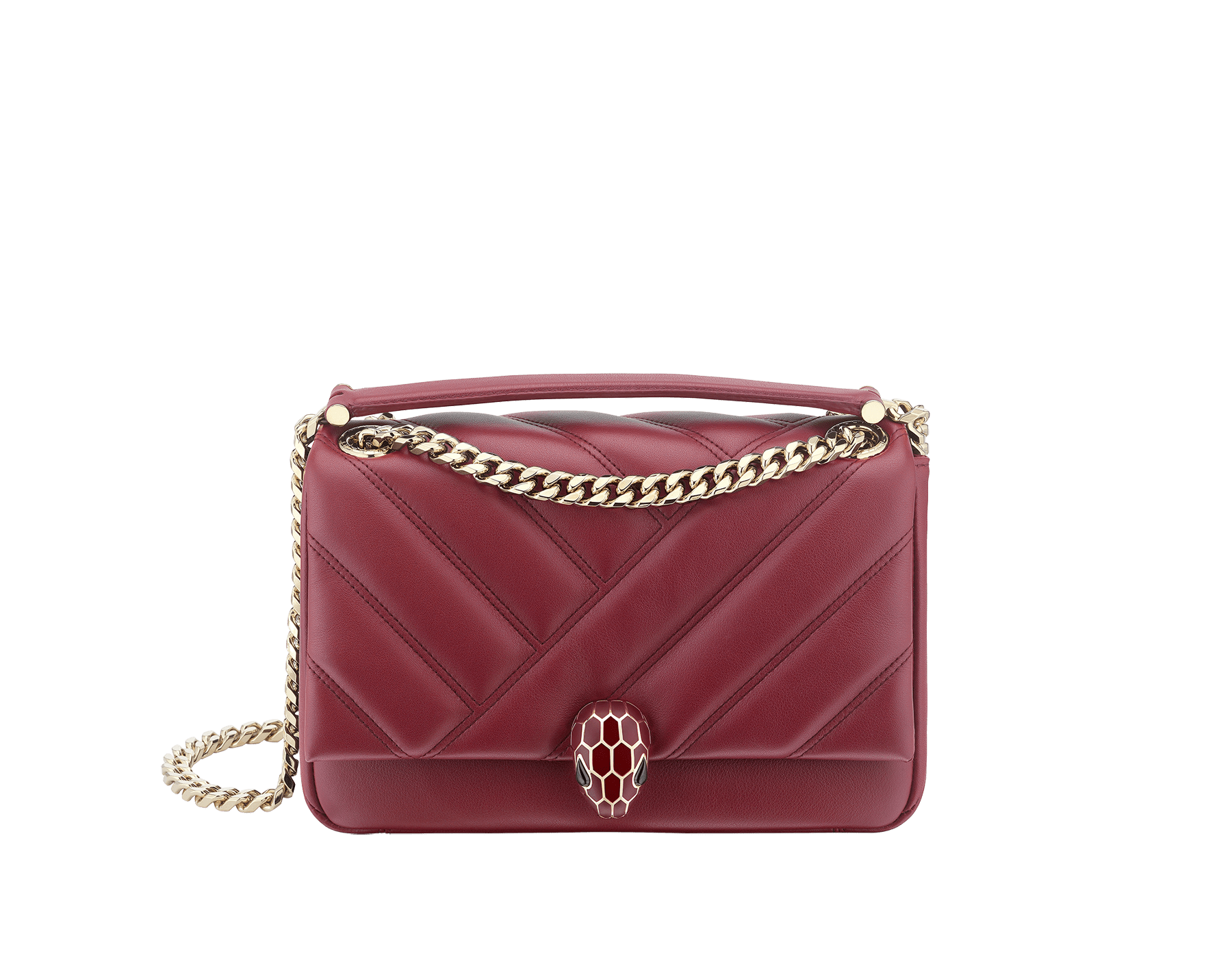 Serpenti Cabochon shoulder bag in soft matelassé Roman garnet nappa leather with a graphic motif, and Roman garnet calf leather. Light gold-plated brass tempting snakehead closure in matte Roman garnet and shiny Roman garnet enamel and black onyx eyes. 981-NSM image 1