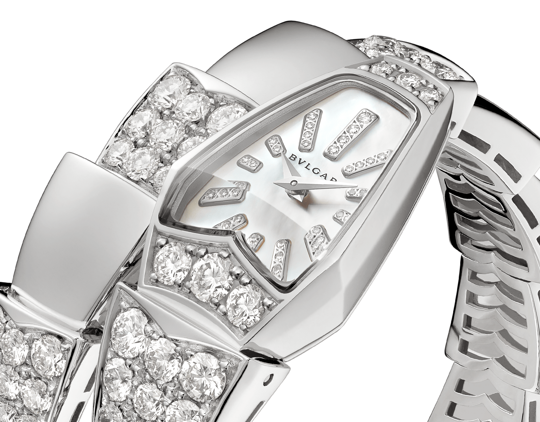 Serpenti Jewellery Watch in 18 kt white gold case and single spiral bracelet, both set with brilliant cut diamonds, white mother-of-pearl dial and diamond indexes. 101787 image 2
