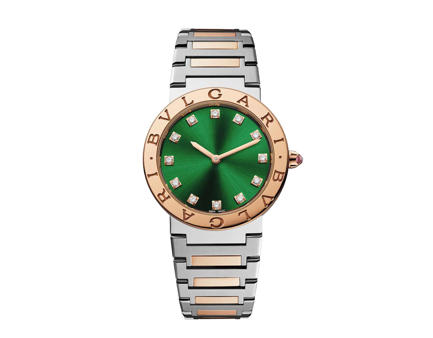 BVLGARI BVLGARI watch in 18 kt rose gold and stainless steel case and bracelet, 18 kt rose gold bezel engraved with double logo, green satiné soleil lacquered dial and diamond indexes 103202 image 1
