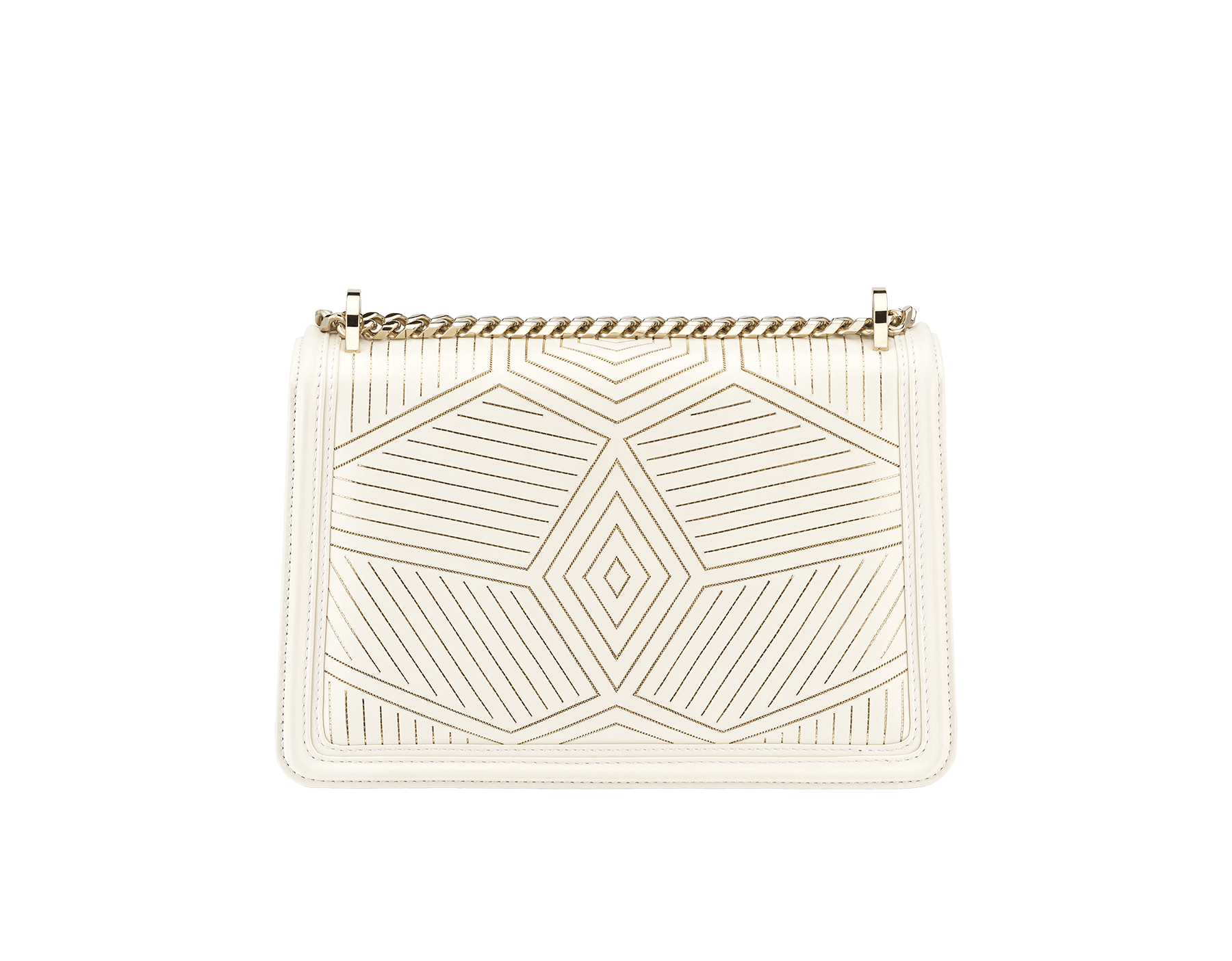 """Serpenti Diamond Blast"" shoulder bag in white agate calf leather, featuring a Whispy Chain motif in light gold finishing. Iconic snakehead closure in light gold plated brass enriched with black and white agate enamel and black onyx eyes. 922-WC image 3"