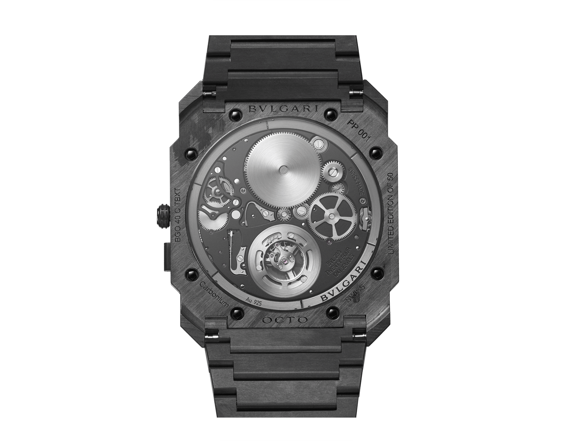 Octo Finissimo Tourbillon Automatic watch with mechanical manufacture movement, ultra-thin flying tourbillon, special ball bearing system, ultra-thin case and bracelet in carbon and skeletonized dial 103072 image 3