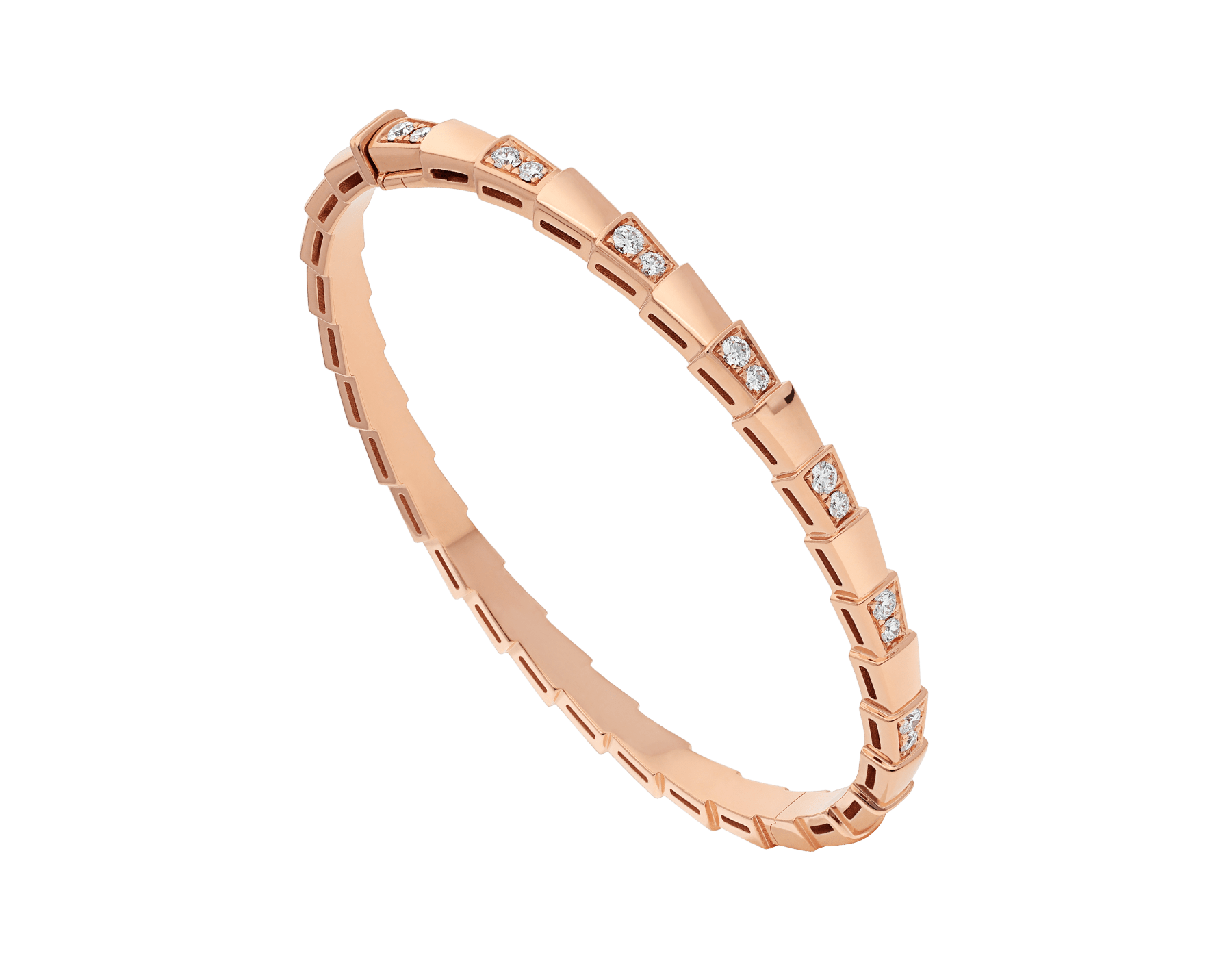 Serpenti Viper 18 kt rose gold bracelet set with demi-pavé diamonds. (width 4 mm) BR858319 image 1