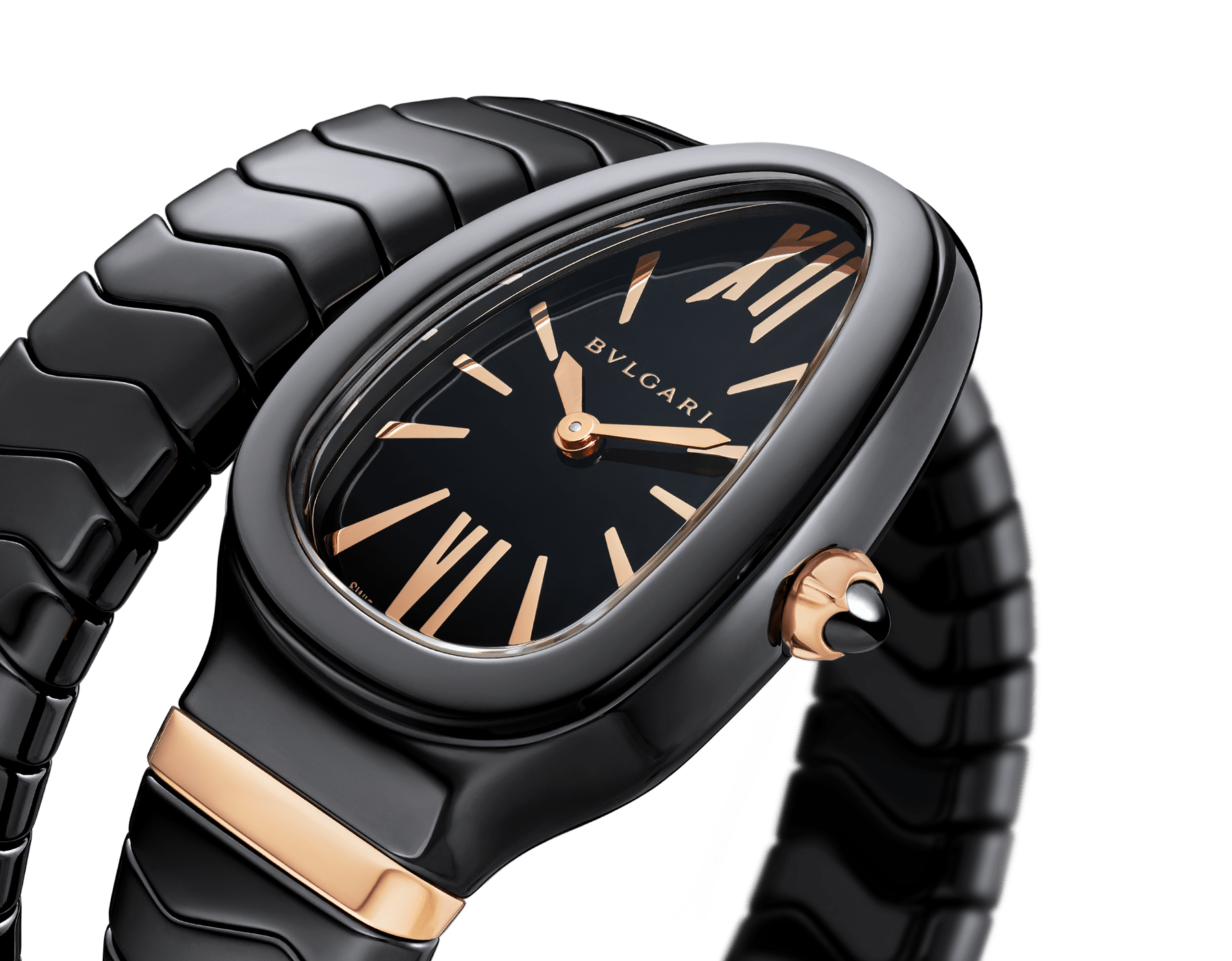 Serpenti Spiga single spiral watch with black ceramic case, black lacquered dial and black ceramic bracelet set with 18 kt rose gold elements. 102734 image 3