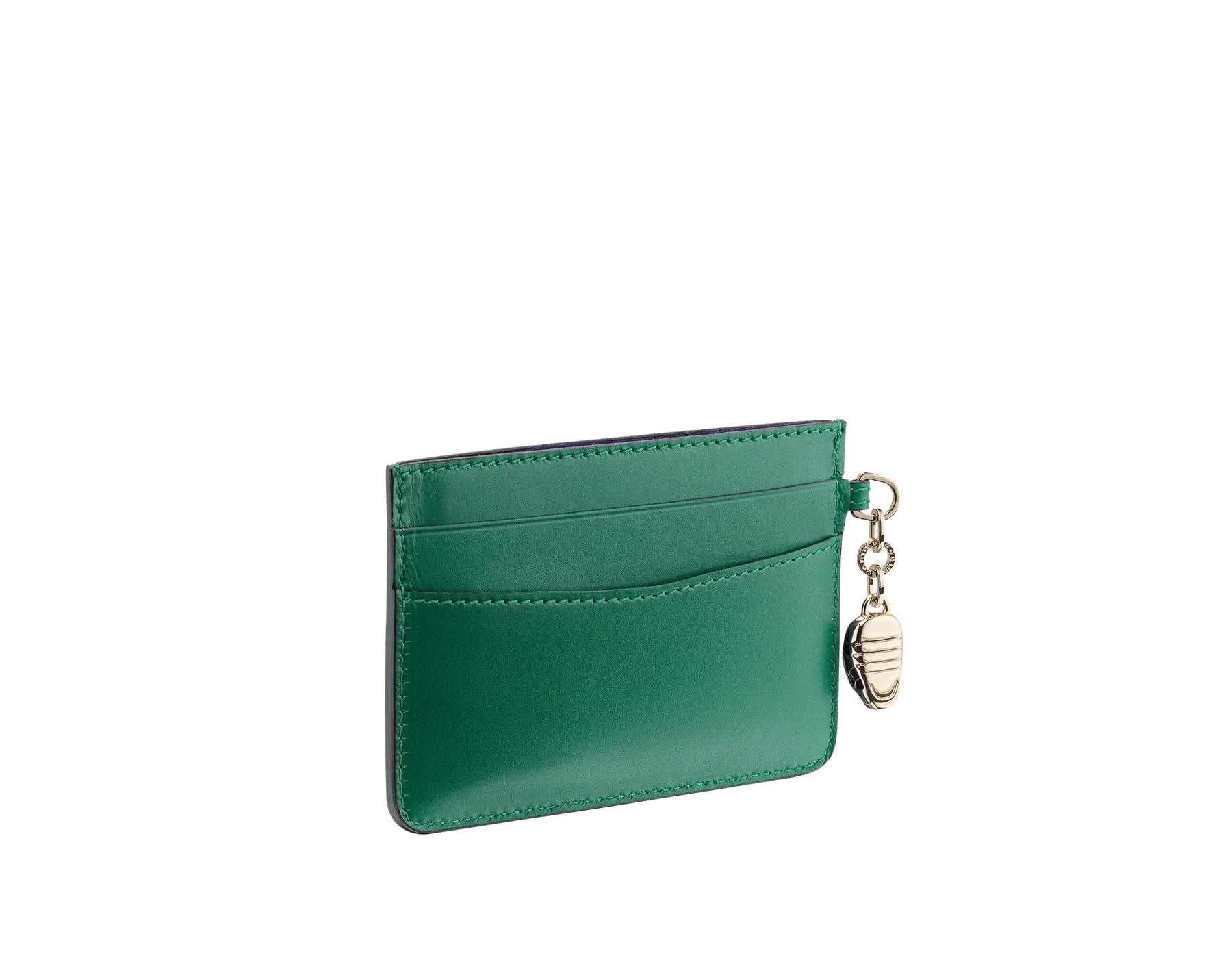 Credit card holder in emerald green and violet amethyst calf leather. Serpenti charm in black and white enamel with green malachite enamel eyes and Bulgari logo in metal characters. Four credit card slots and one compartment. Also available in other colours. 10,5 x 7,5 cm. - 4.1. x 3.0'' 282019 image 2