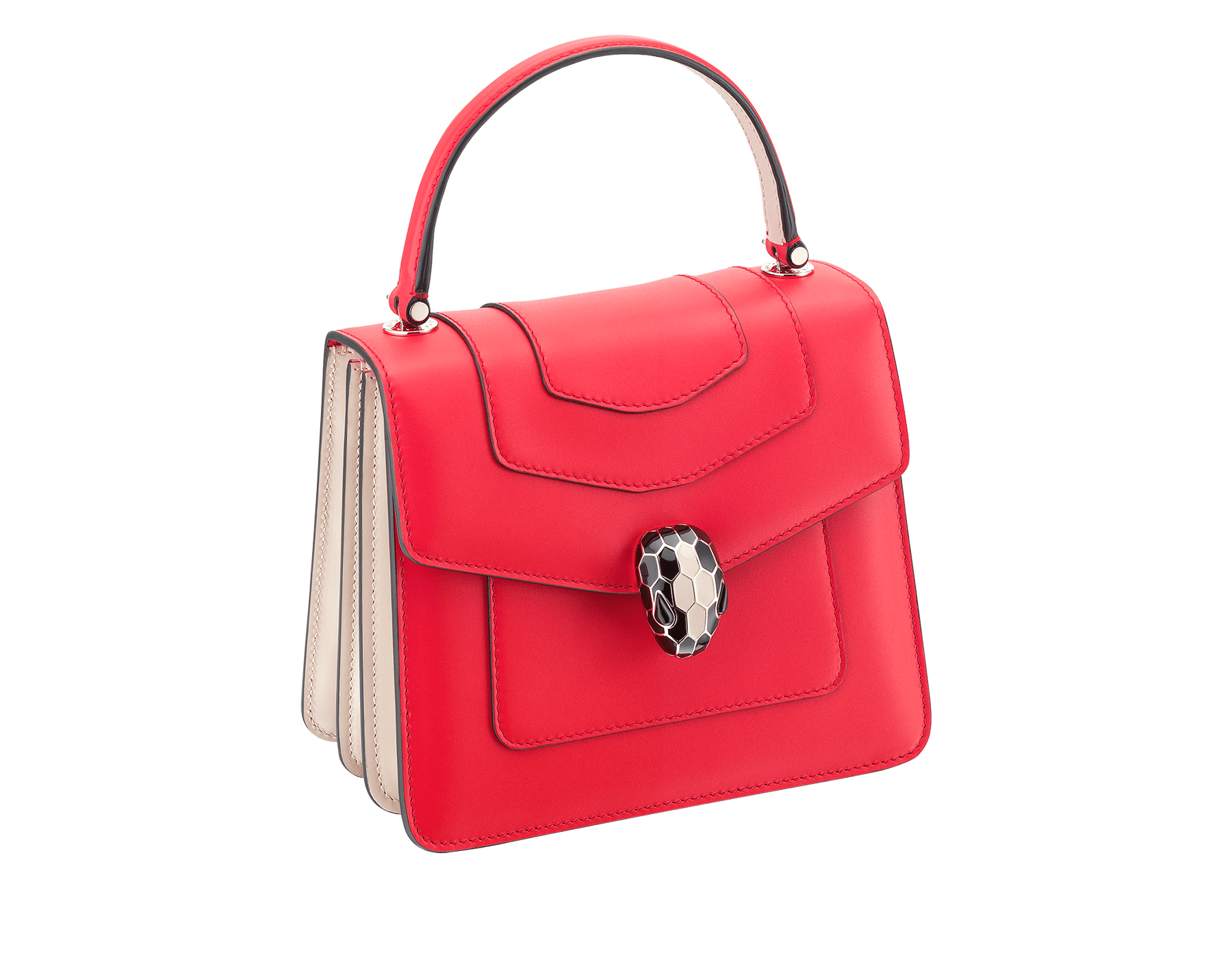 Serpenti Forever crossbody bag in sea star coral smooth calf leather body and milky opal calf leather sides. Snakehead closure in light gold plated brass decorated with milky opal and black enamel, and black onyx eyes. 287961 image 2