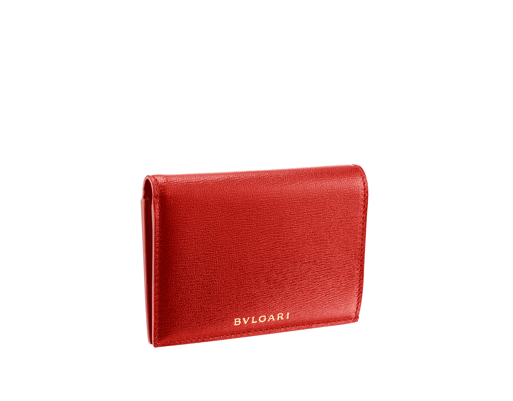 B.zero1 double folded credit card holder in carmine jasper and ruby red goatskin. Iconic B.zero1 charm in light gold plated brass. 289151 image 1