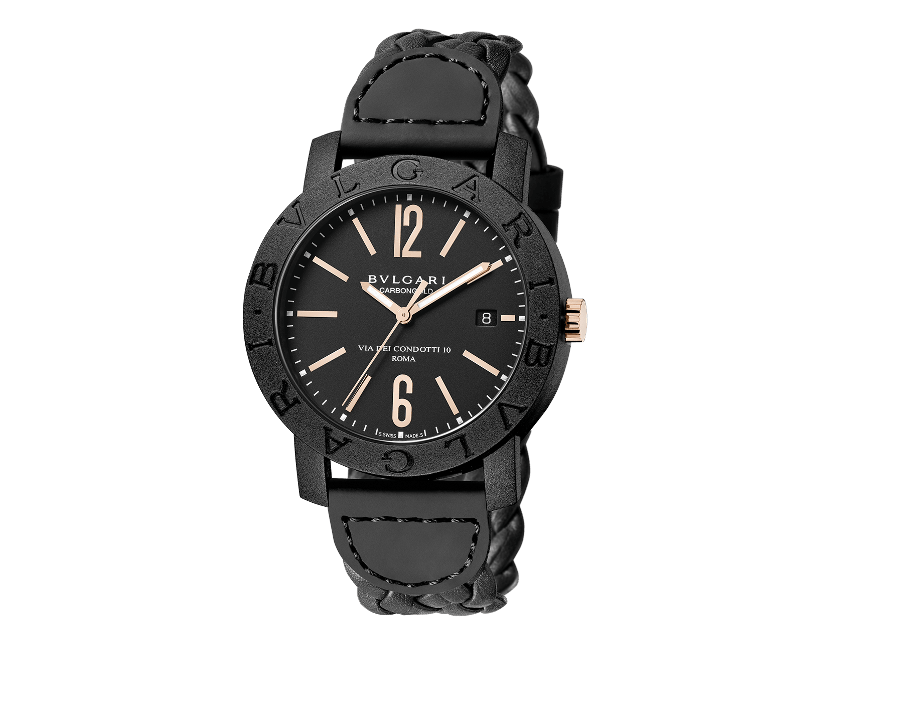 BVLGARI BVLGARI CARBON GOLD watch with mechanical movement, automatic winding and date, carbon gold case, black dial and woven leather bracelet 102632 image 1