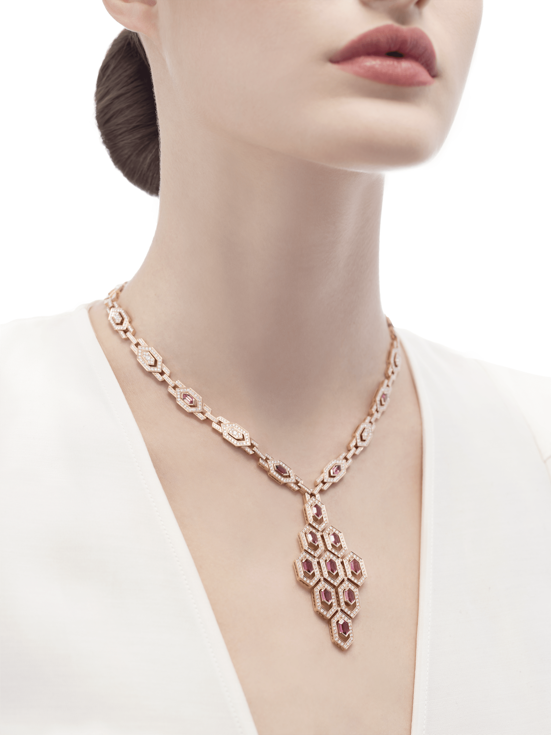 Serpenti Necklace in 18 kt pink gold with rubellite (5.25 ct) and pavè diamonds (7.37 ct) 353845 image 2