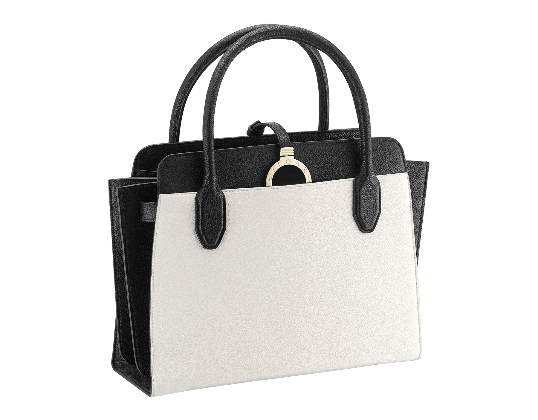 Tote bag BVLGARI BVLGARI Alba in white agate and black grain calf leather with zip closure. Pendant motif in brass light gold plated metal featuring the iconic double logo and Tubogas motif. 282797 image 2