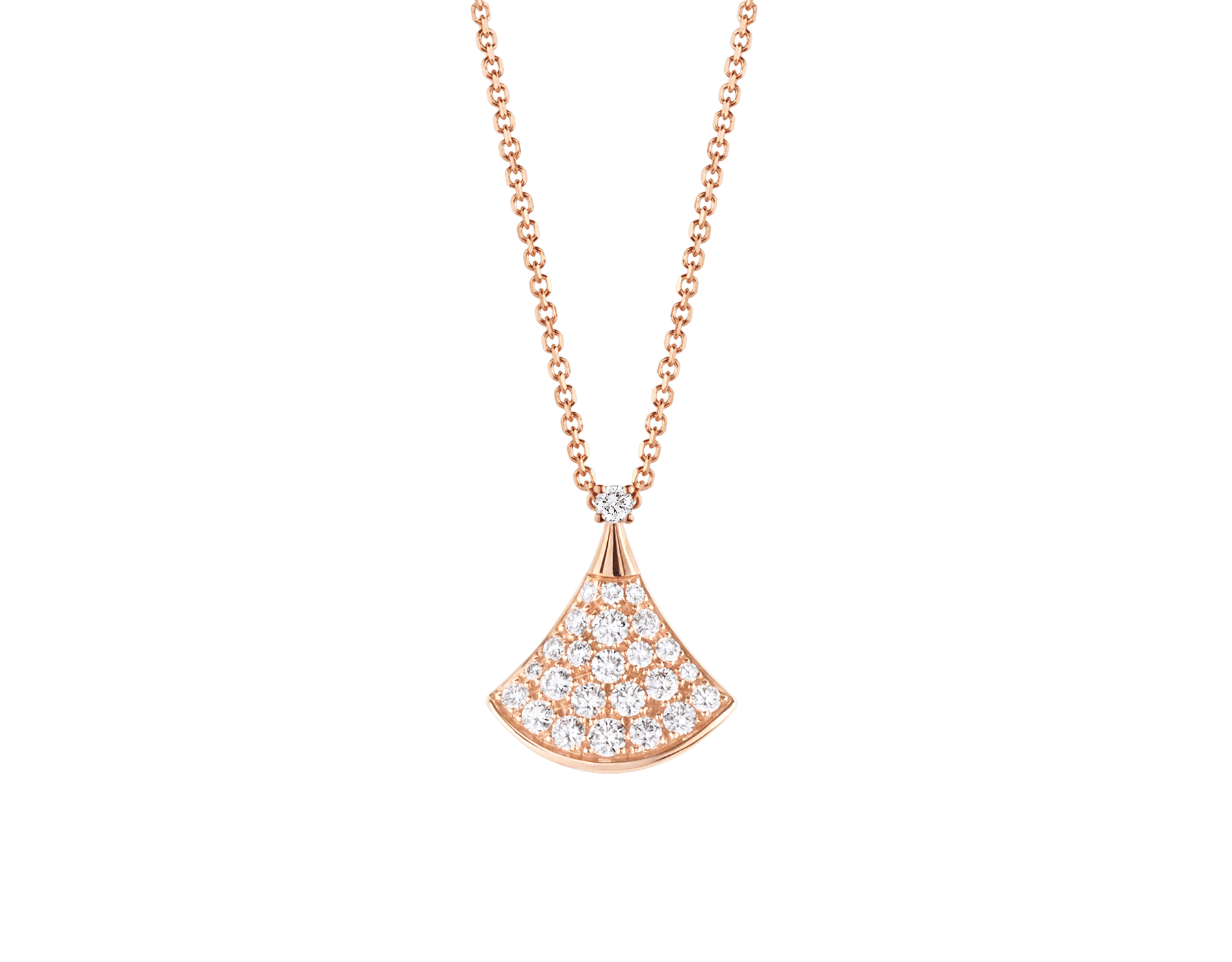 Crafted with the shimmering elegance of pavé diamonds and the feminine curves of the iconic fan-shaped motif, the DIVAS' DREAM necklace unveils its most precious facets. 351051 image 1