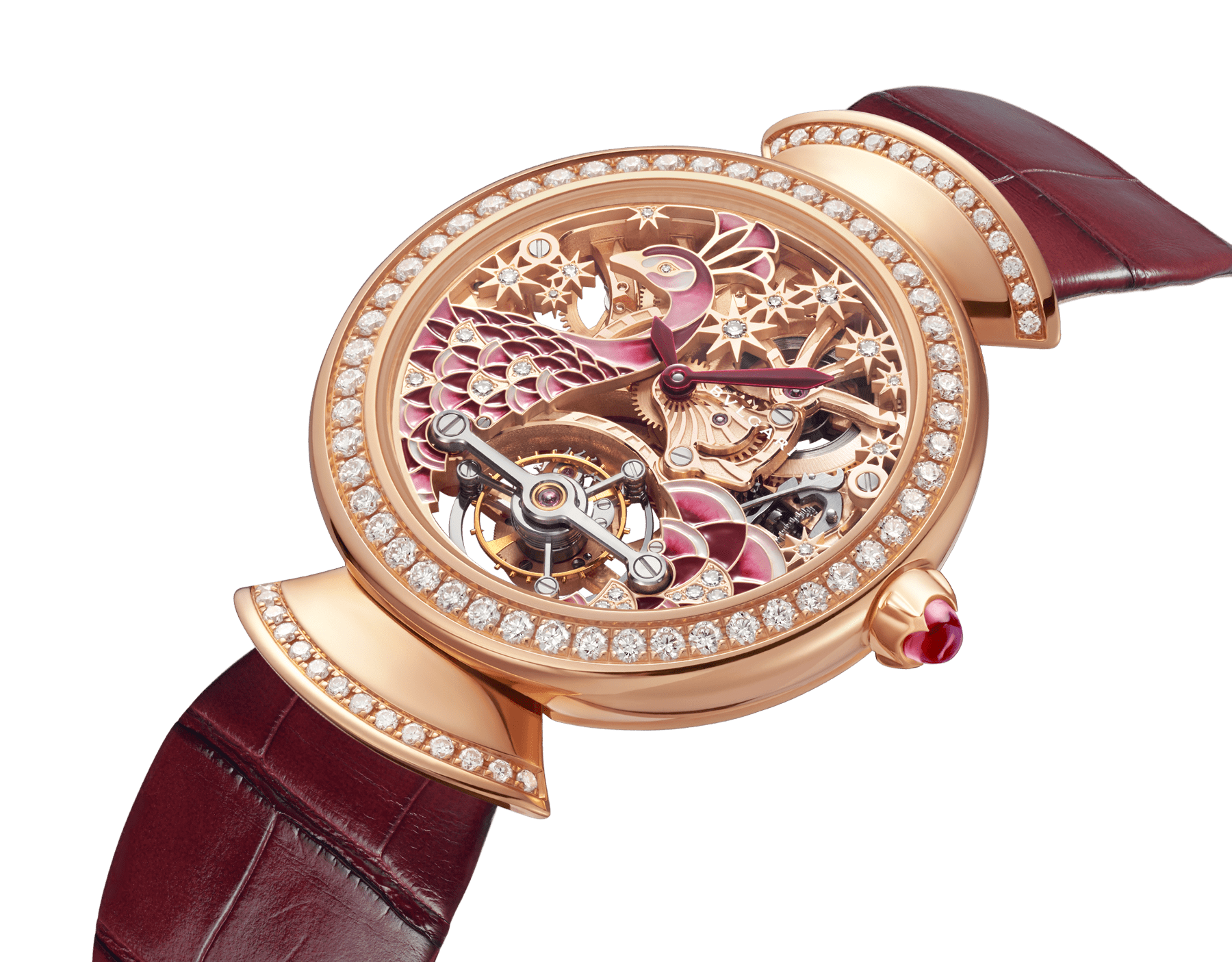DIVAS' DREAM watch with skeletonised mechanical manufacture movement in 18 kt rose gold, tourbillon, manual winding, 18 kt rose gold case, 18 kt rose gold bezel and links set with brilliant-cut diamonds, 18 kt rose gold skeletonised dial decorated with hand-painted miniature motif of a peacock and stars made of brilliant-cut diamonds, transparent case back and pink alligator bracelet 103166 image 2