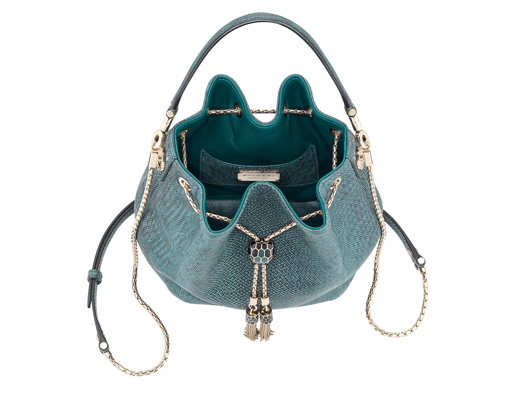 Bucket Serpenti Forever in deep jade metallic karung skin and deep jade nappa internal lining. Hardware in light gold plated brass and snakehead closure in black and glitter deep jade enamel, with eyes in black onyx. 287950 image 4