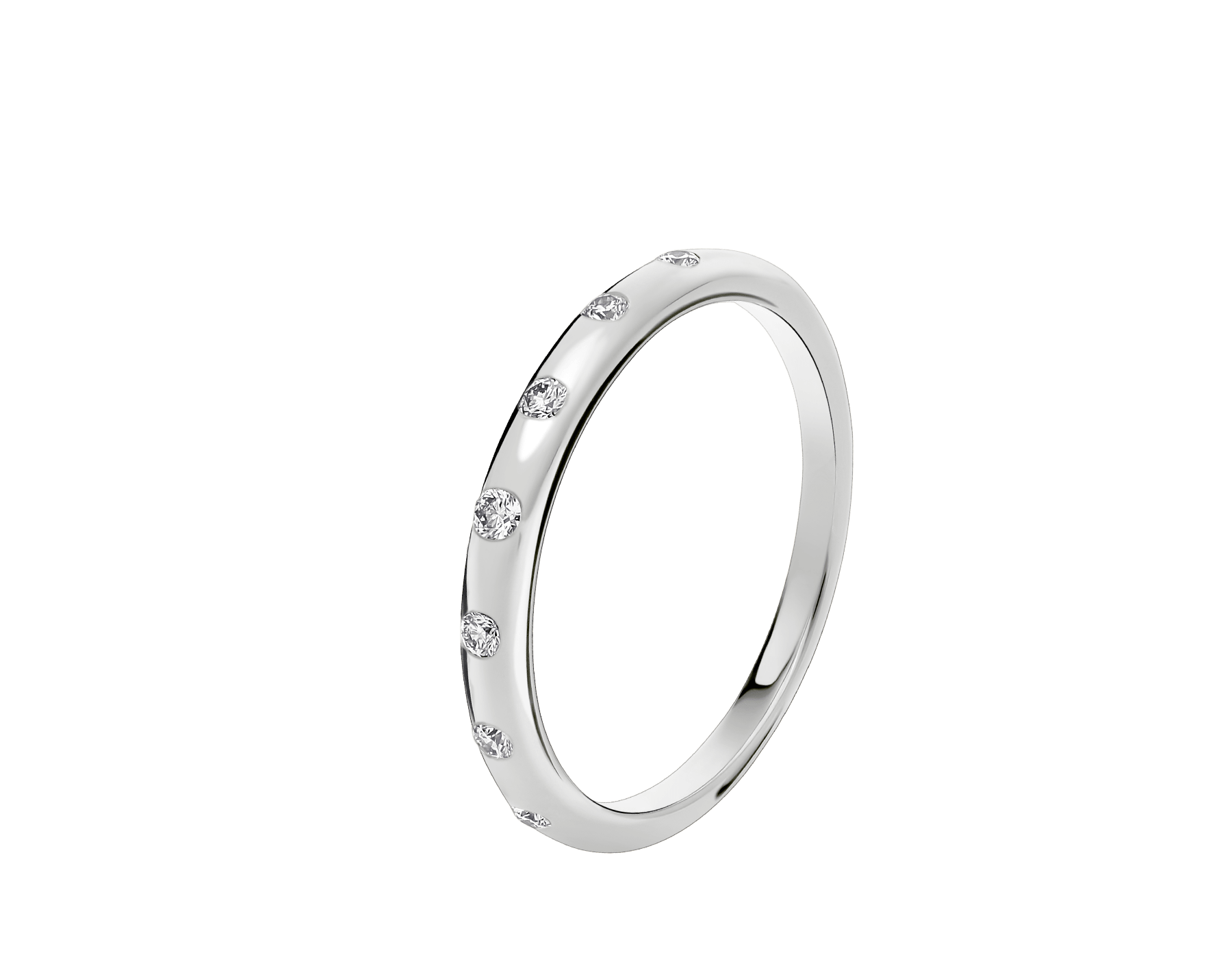 Fedi Wedding Band in platinum set with seven diamonds AN214704 image 1