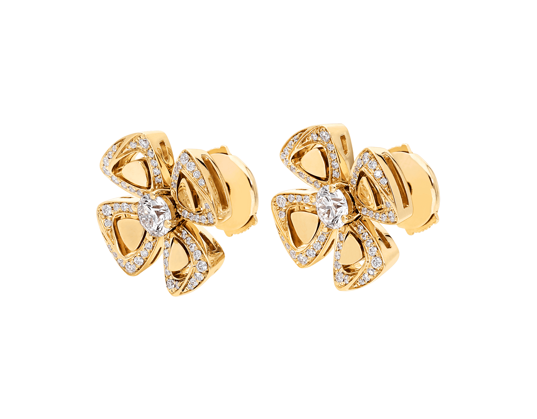 Fiorever 18 kt yellow gold stud earrings, set with two central diamonds and pavé diamonds. 357500 image 2