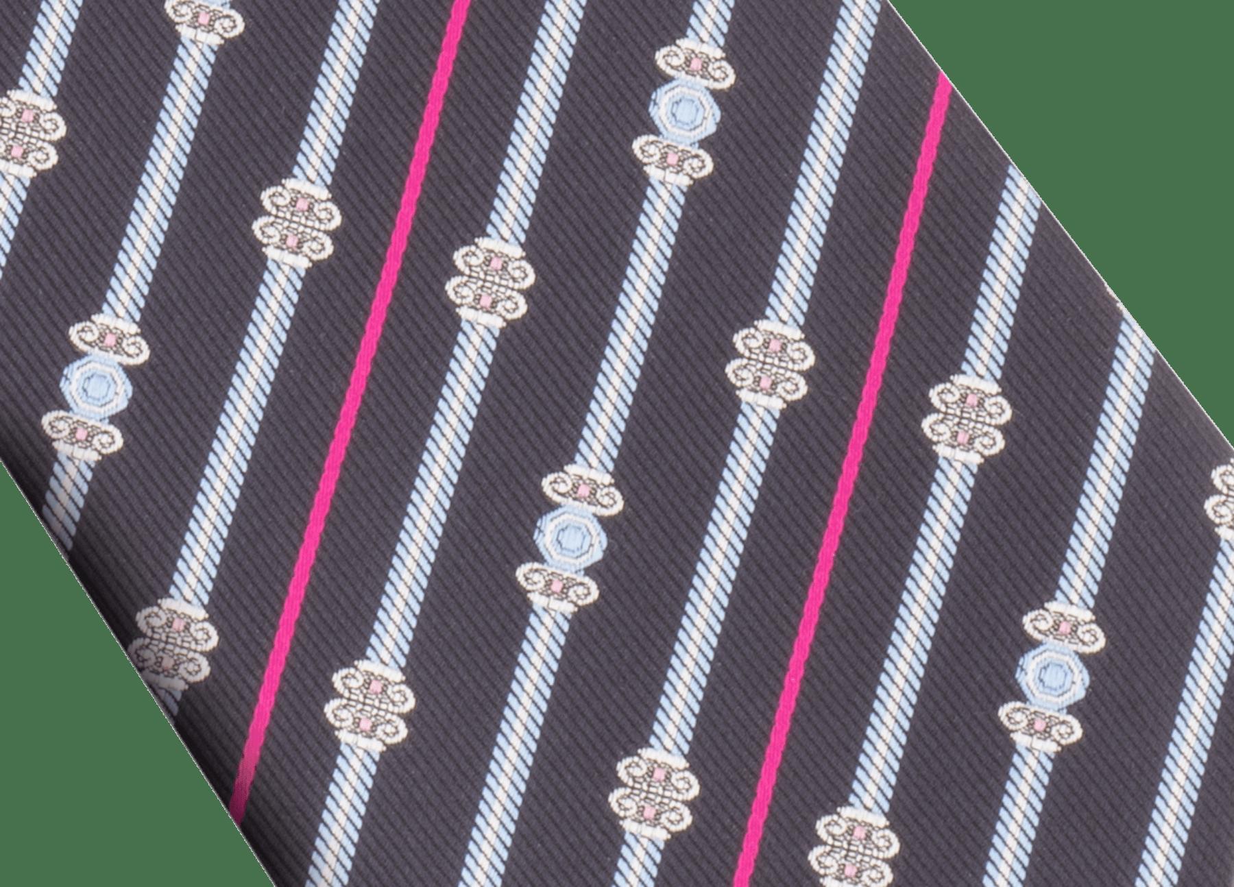 "Red ""Bvlgari Pillars"" seven-fold tie in fine jacquard silk. BULGARIPILLARS image 2"