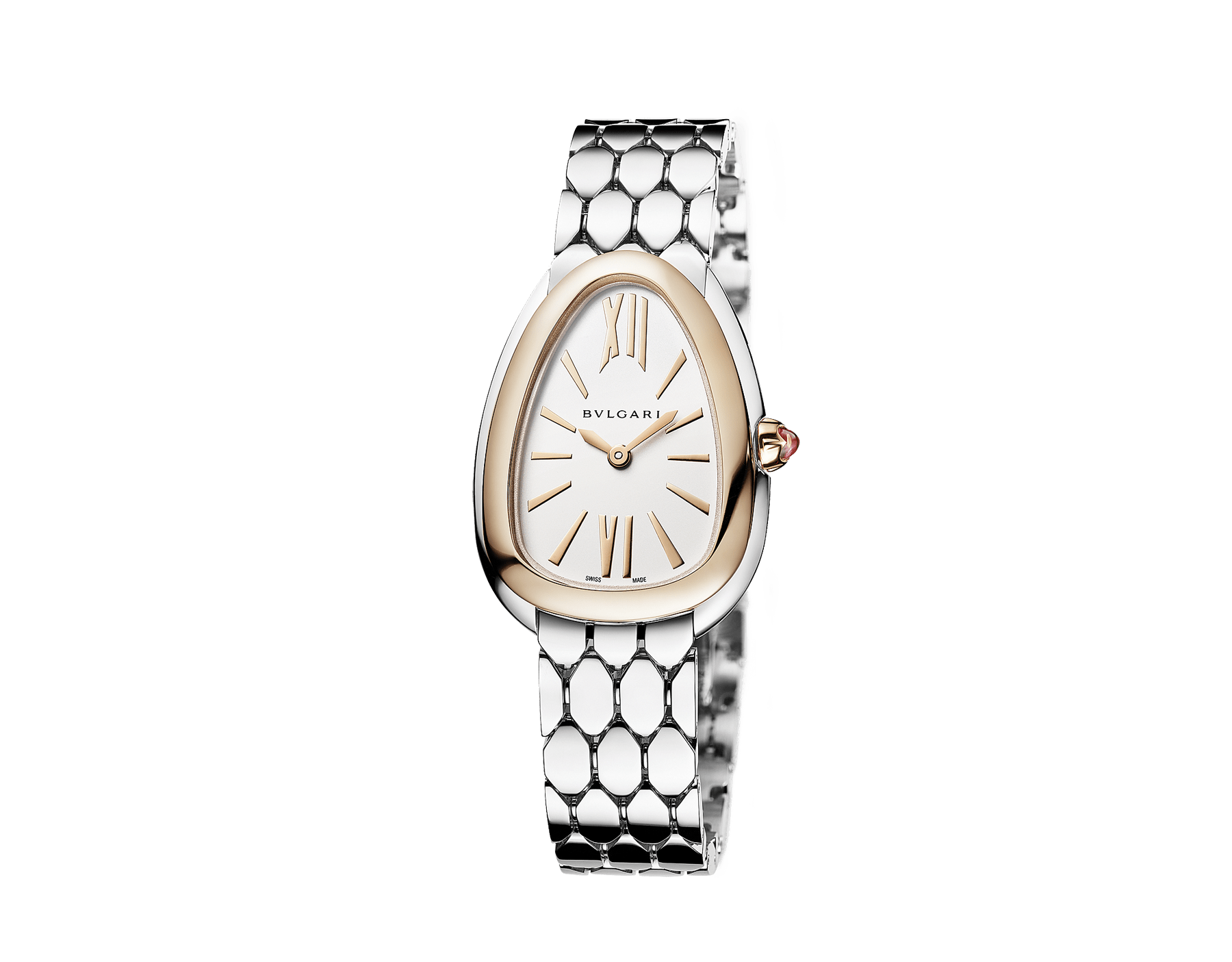 Serpenti Seduttori watch with stainless steel case, stainless steel bracelet, 18 kt rose gold bezel and a white silver opaline dial. 103144 image 2