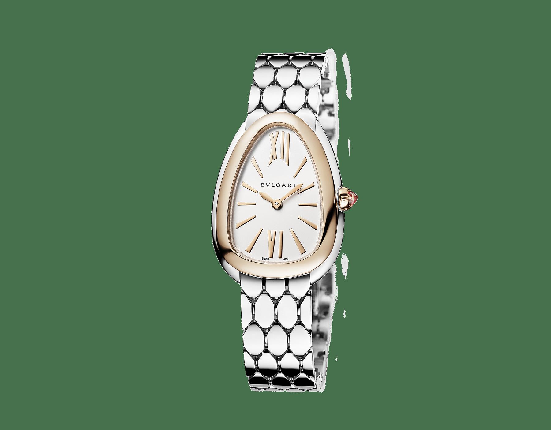 Relógio Serpenti Seduttori com caixa em aço, pulseira em aço, bezel em ouro rosa 18K e mostrador em opalina branco-prata. 103144 image 2
