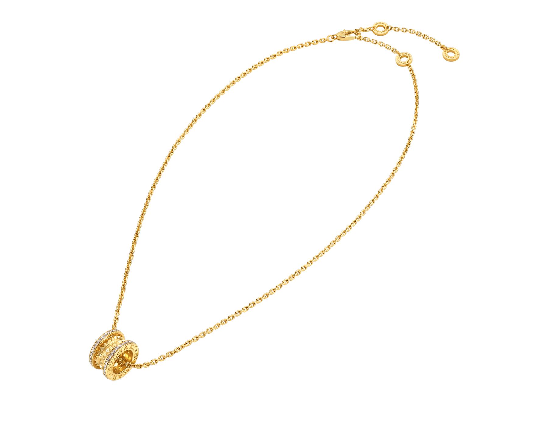 B.zero1 Rock necklace with 18 kt yellow gold pendant with studded spiral, pavé diamonds on the edges and 18 kt yellow gold chain 357885 image 2