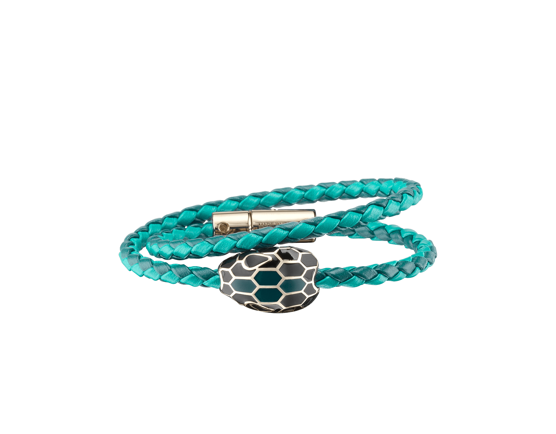 Serpenti Forevermulti-coiled braid bracelet in deep jade and tropical tourquoise woven calf leather with an iconic snakehead décor in black and deep jade enamel. SerpDoubleBraid-WCL-DJTT image 1