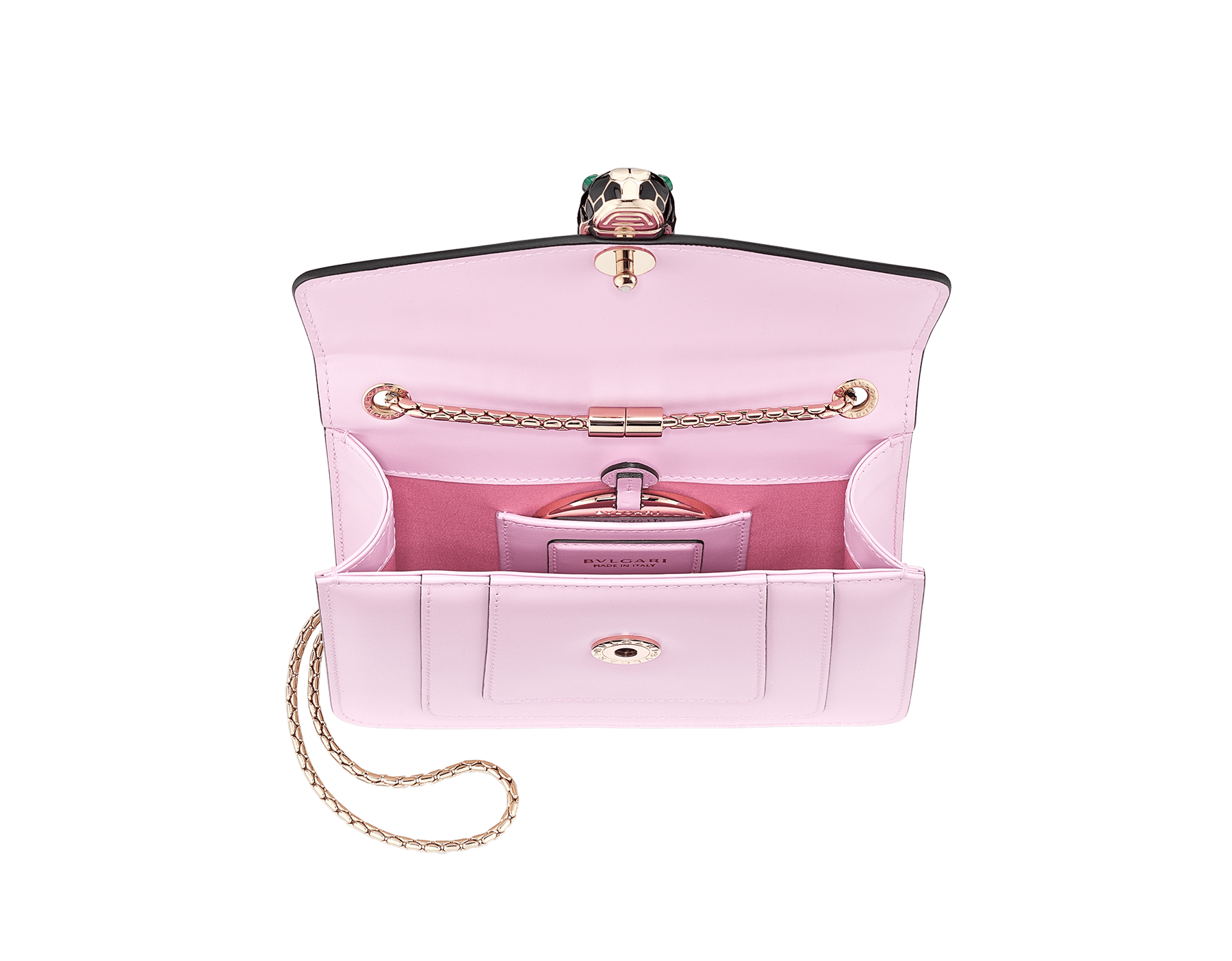 """Serpenti Forever "" crossbody bag in carmine jasper calf leather. Iconic snakehead closure in light gold plated brass enriched with black and white enamel and green malachite eyes 422-CLc image 4"