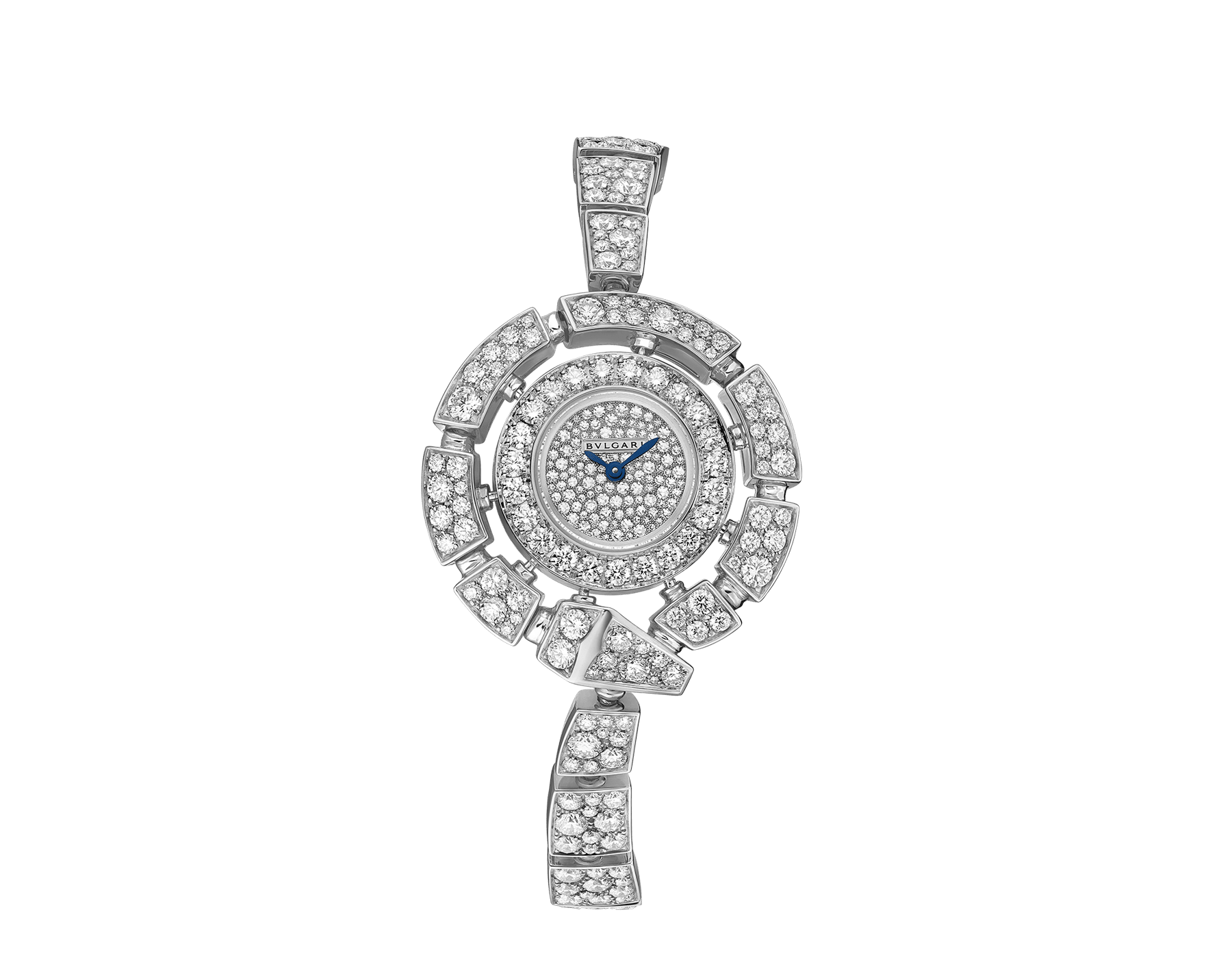 Orologio Serpenti Incantati con cassa e bracciale in oro bianco 18 kt con diamanti taglio brillante e quadrante con pavé di diamanti incastonati a neve. 102535 image 1