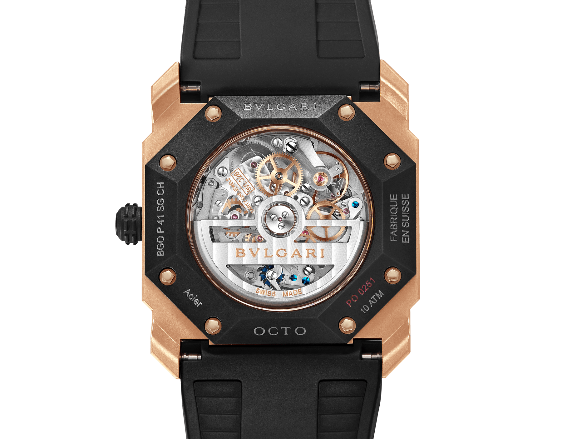 Octo L'Originale watch with mechanical manufacture movement, automatic winding and date, case in sandblasted steel with Diamond Like Carbon treatment and 18 kt rose gold, transparent case back, anthracite dial and black rubber bracelet. Water-resistant up to 100 metres 103203 image 4