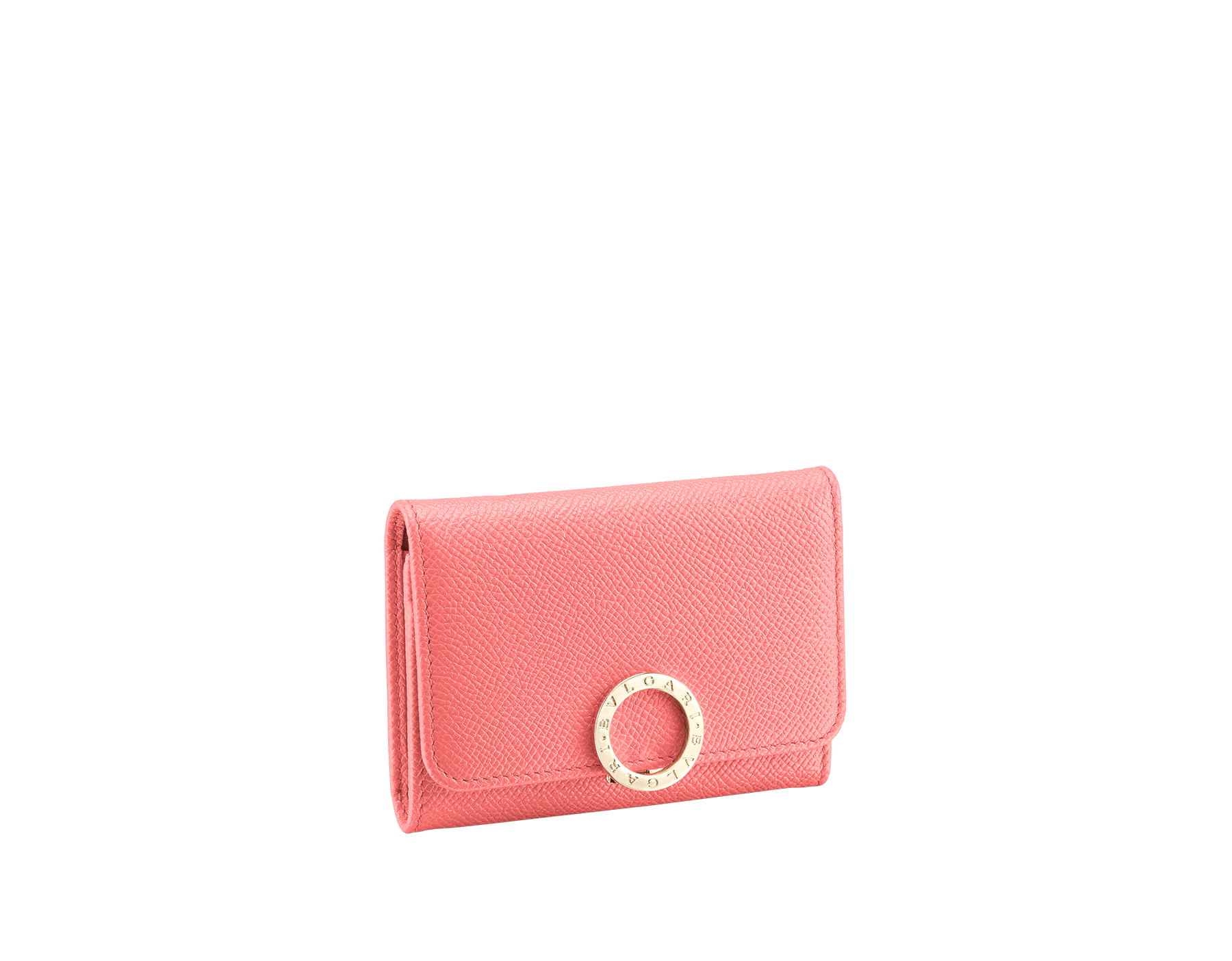 BVLGARI BVLGARI business card holder in silky coral bright grain calf leather and flamingo quartz nappa leather. Iconic logo clip closure in light gold plated brass. 289040 image 1