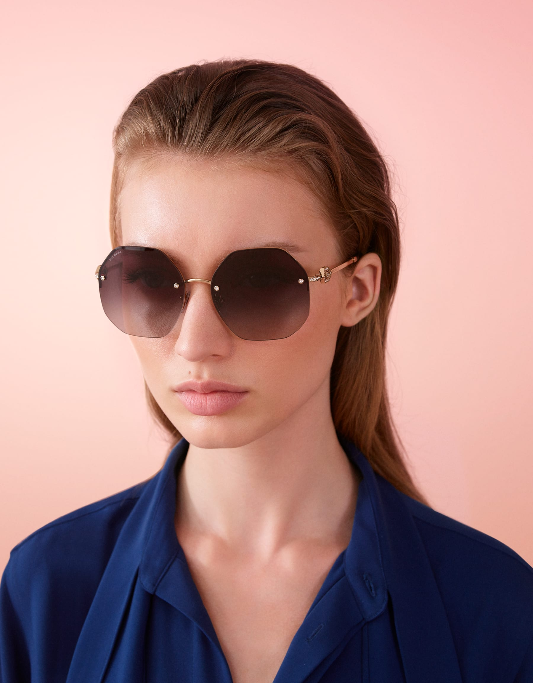 Bvlgari Serpenti oversized metal sunglasses with Serpenti openwork metal décor with crystals. 903851 image 3