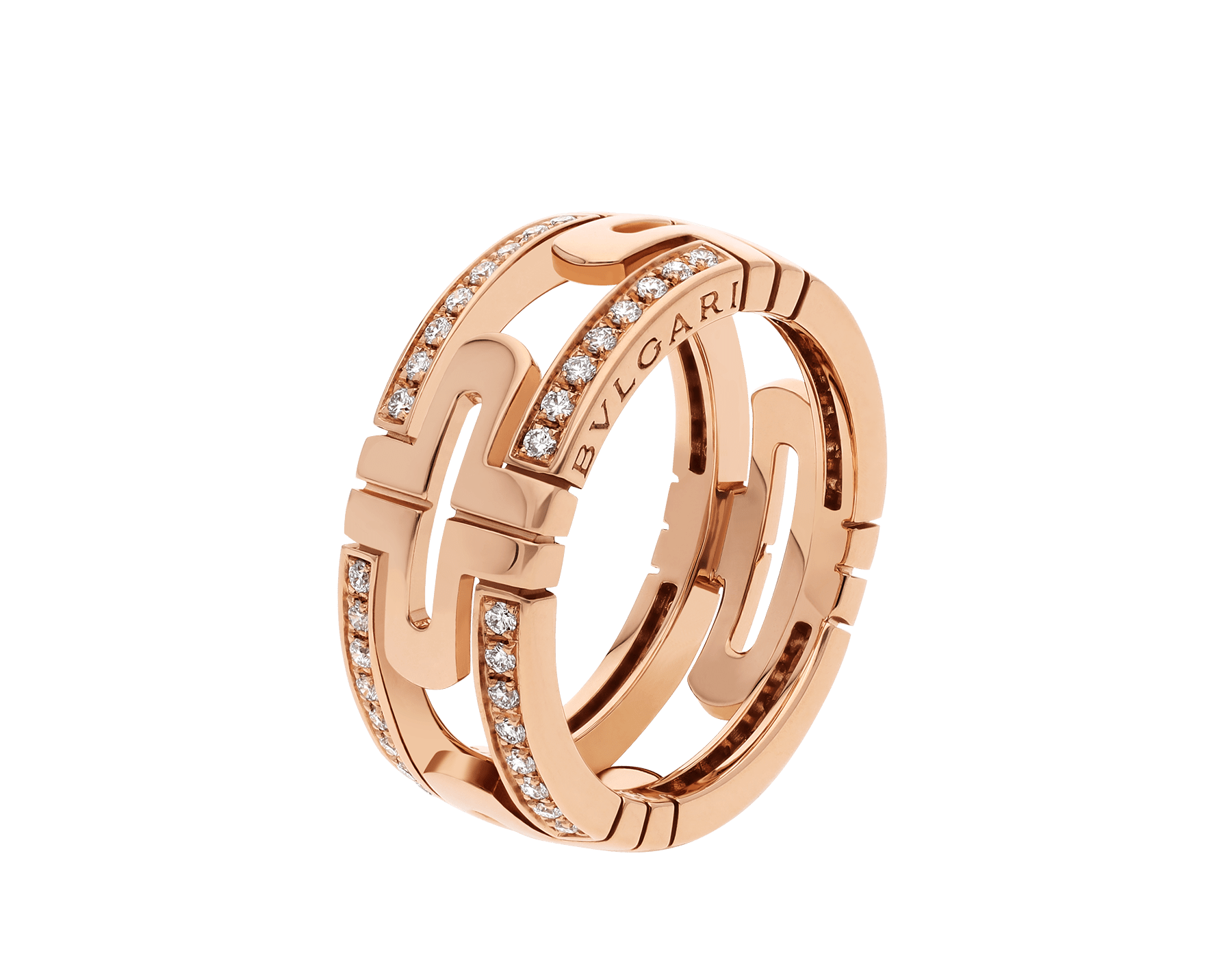 Parentesi 18 kt rose gold band ring set with demi pavé diamonds AN856914 image 1