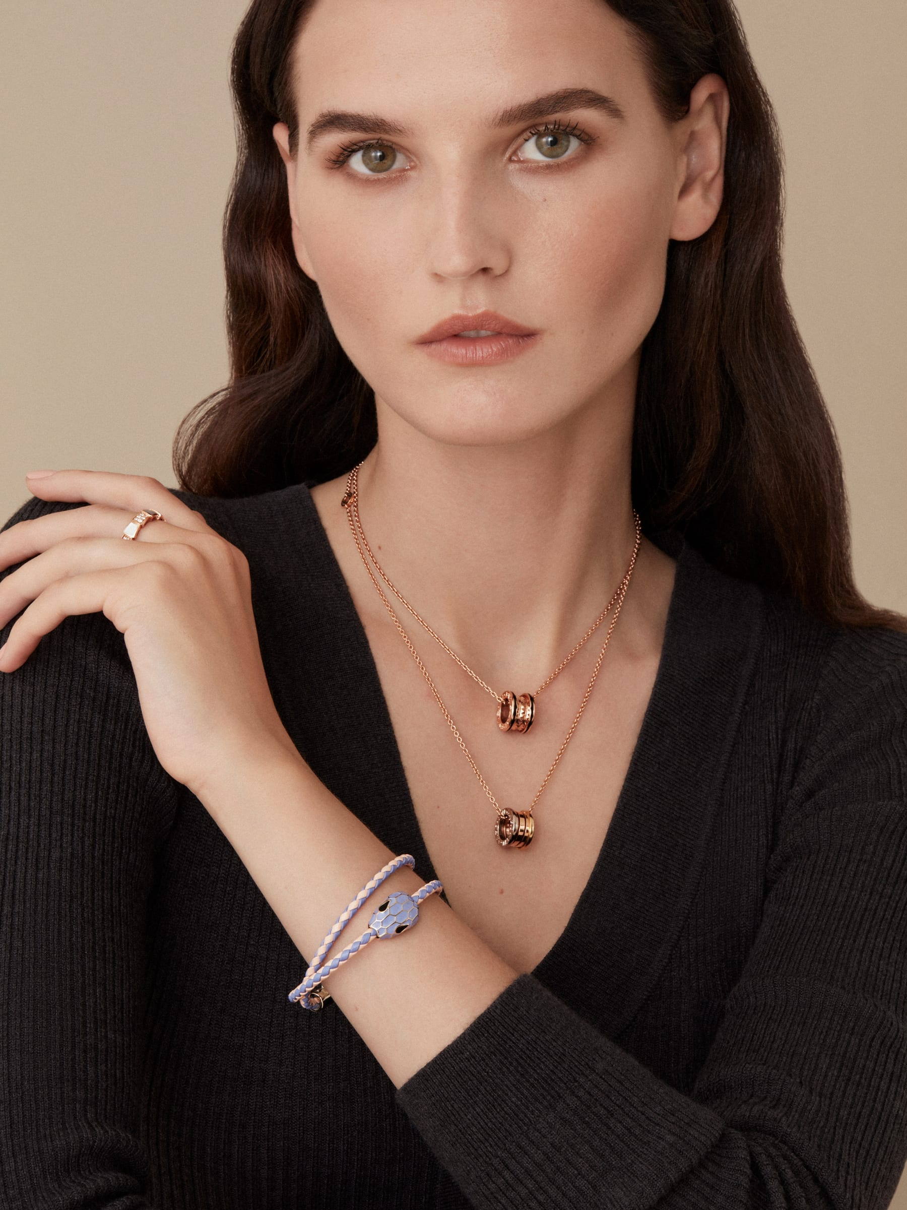 """Serpenti Forever"" multi-coiled braid bracelet in Lavender Amethyst lilac and peach woven calf leather, with the alluring snakehead décor in full Lavender Amethyst lilac enamel with seductive black enamel eyes. SerpDoubleBraid-WCL-LAP image 2"