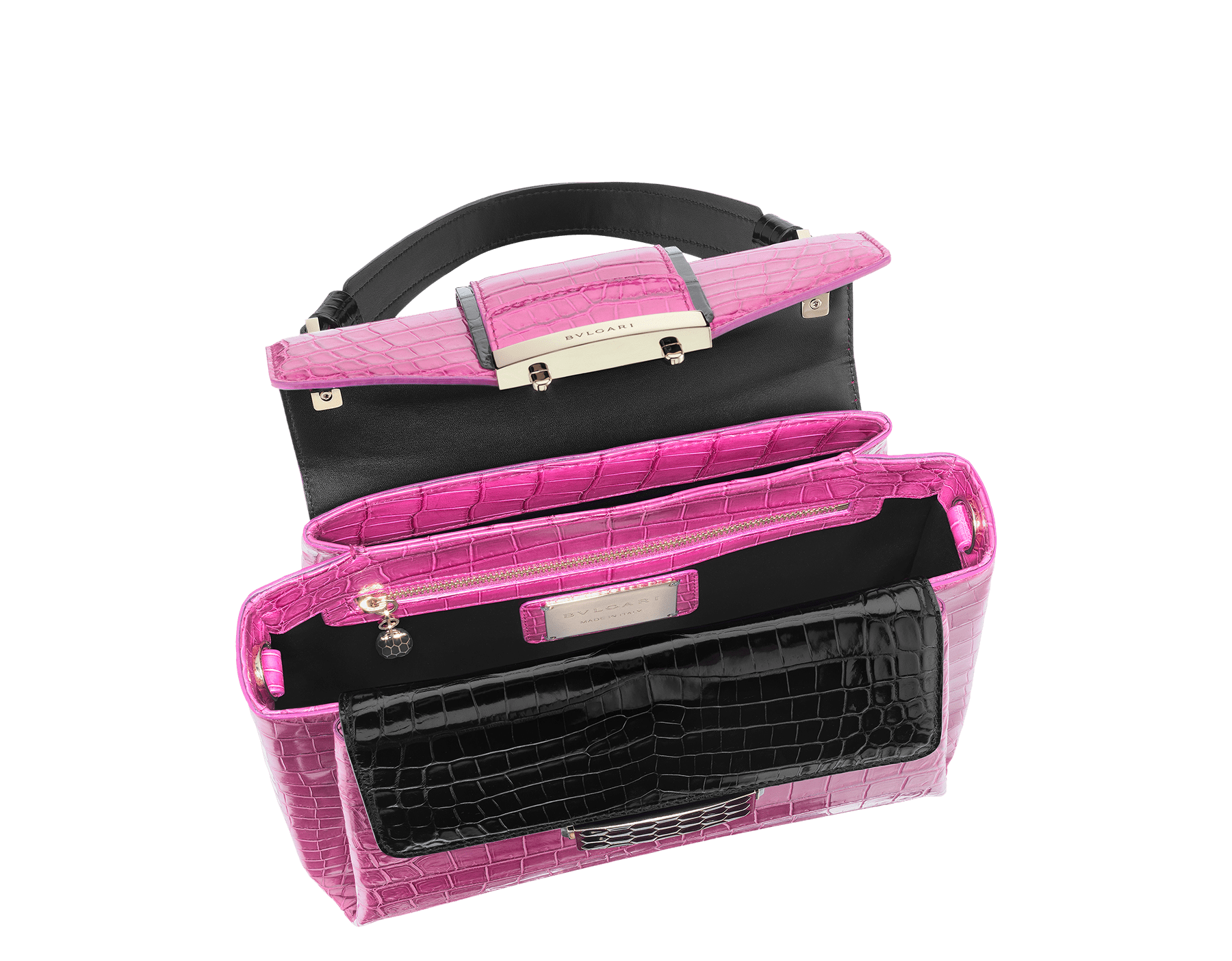 Top handle bag Serpenti Viper in raspberry agate and black shiny crocodile skin. Brass light gold plated hardware and snap closure in black shiny enamel with iconic Scaglie design and lateral push buttons in green malachite stones. One front compartment with internal flap cover, one zipped pocket and one open pocket in the central compartment, one back open compartment. Internal metal tag featuring the Bulgari logo. Adjustable and removable shoulder strap Small size. 27 x 20 x 11 cm. - 10.6 x 7.8 x 4.3 281722 image 3