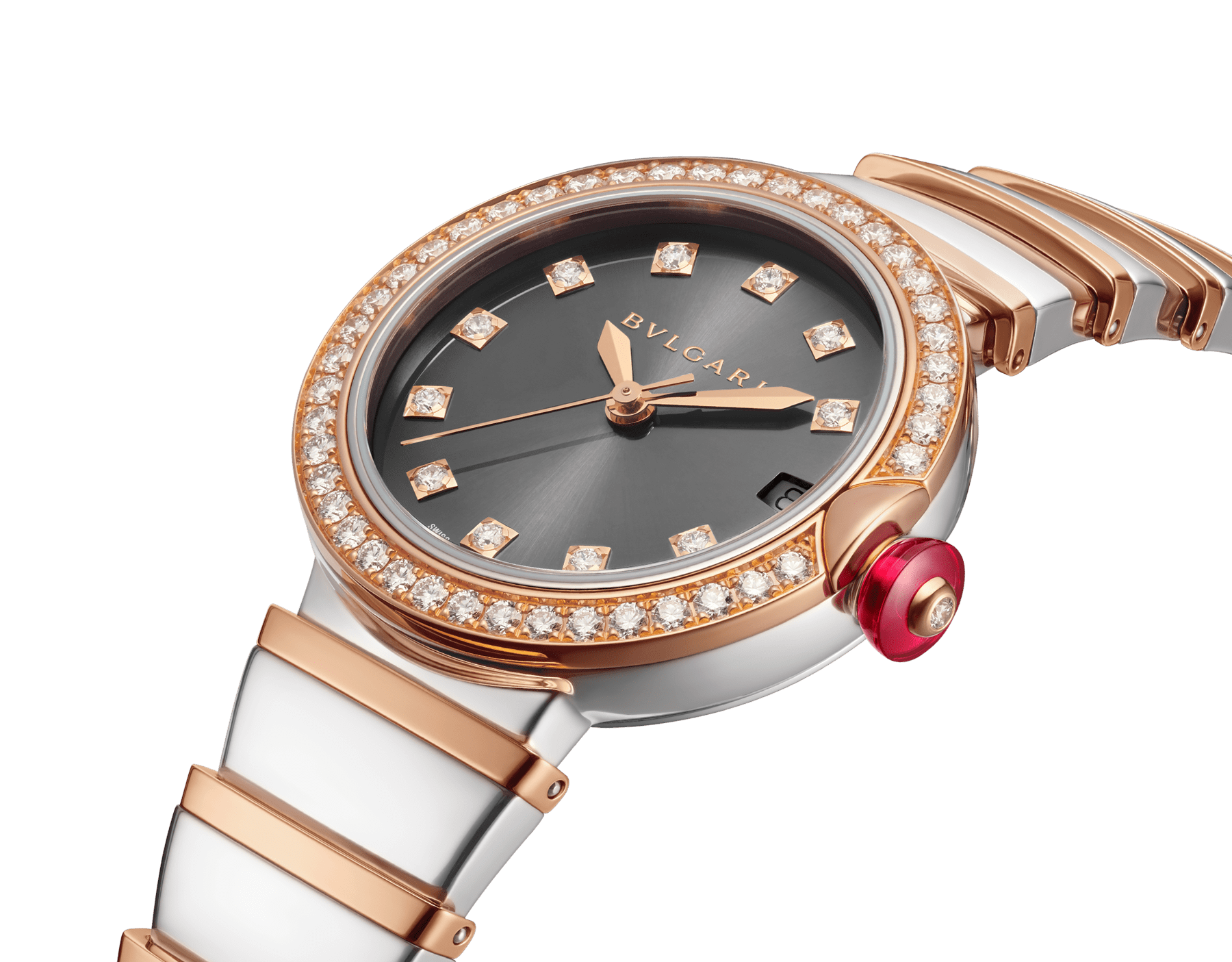 LVCEA watch with stainless steel case, 18 kt rose gold bezel set with diamonds, grey lacquered dial, diamond indexes, stainless steel and 18 kt rose gold bracelet 103029 image 2