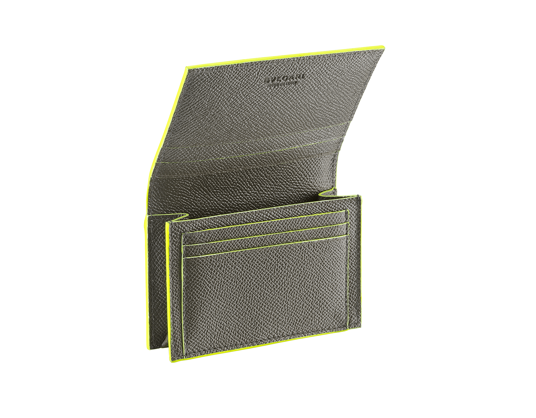 BVLGARI x FRAGMENT by Hiroshi Fujiwara ビジネスカードホルダー。 ホークアイと蛍光イエローのグレインカーフレザー製。特別なBVLGARI FRGMTのブラックロゴプリント。 289568 image 2