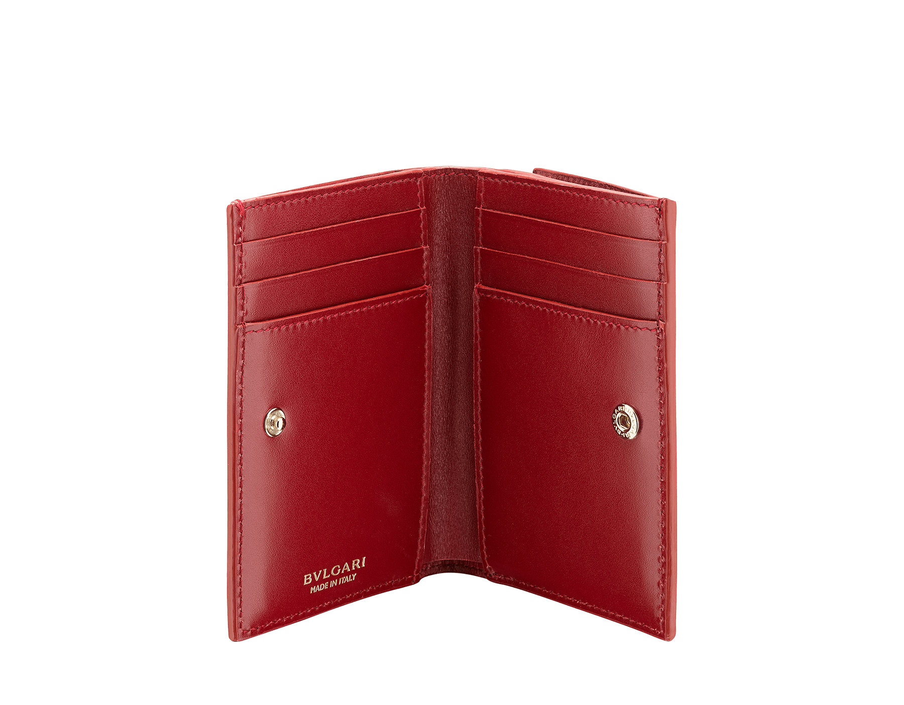 B.zero1 double folded credit card holder in carmine jasper and ruby red goatskin. Iconic B.zero1 charm in light gold plated brass. 289151 image 2