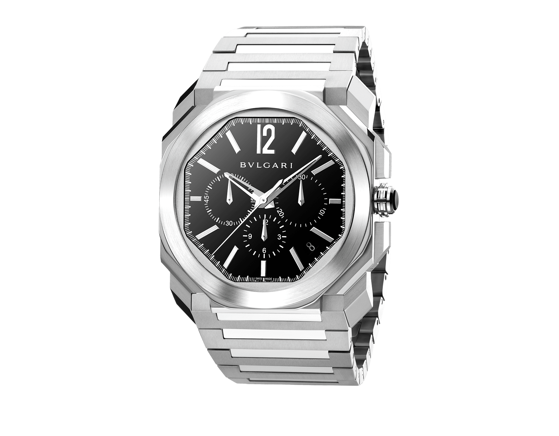 Octo watch with mechanical manufacture movement, high-frequency chronograph, automatic winding and date, stainless steel case and bracelet, black lacquered dial. 102116 image 1