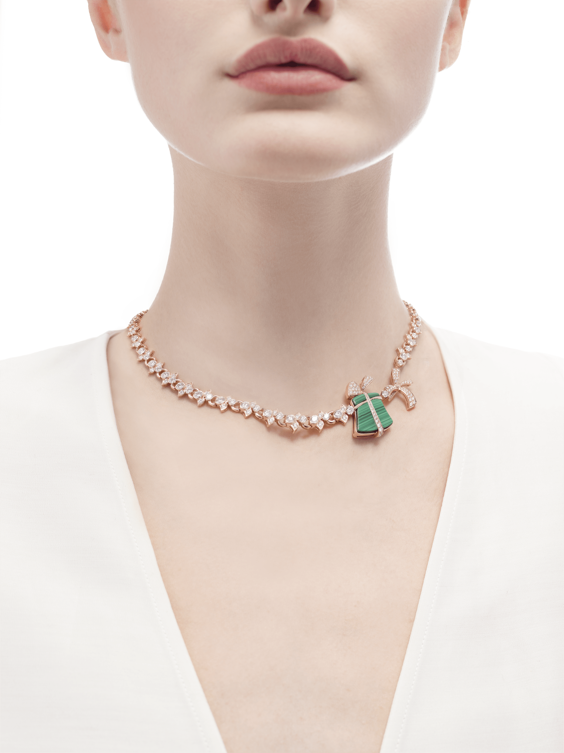 Festa 18 kt rose gold necklace set with malachite elements and pavé diamonds 355917 image 2