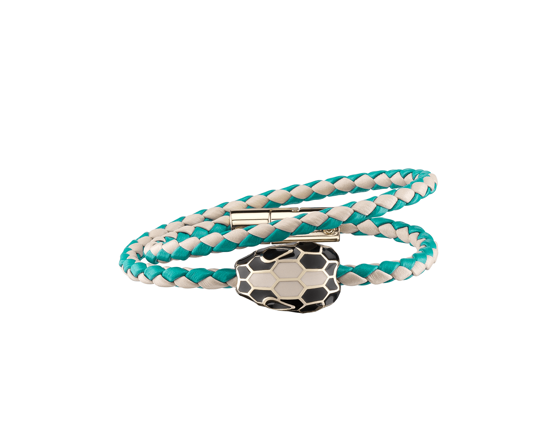 Serpenti Forevermulti-coiled braid bracelet in milky opal and tropical tourquoise woven calf leather with an iconic snakehead décor in black and milky opal enamel. SerpDoubleBraid-WCL-MOTT image 1