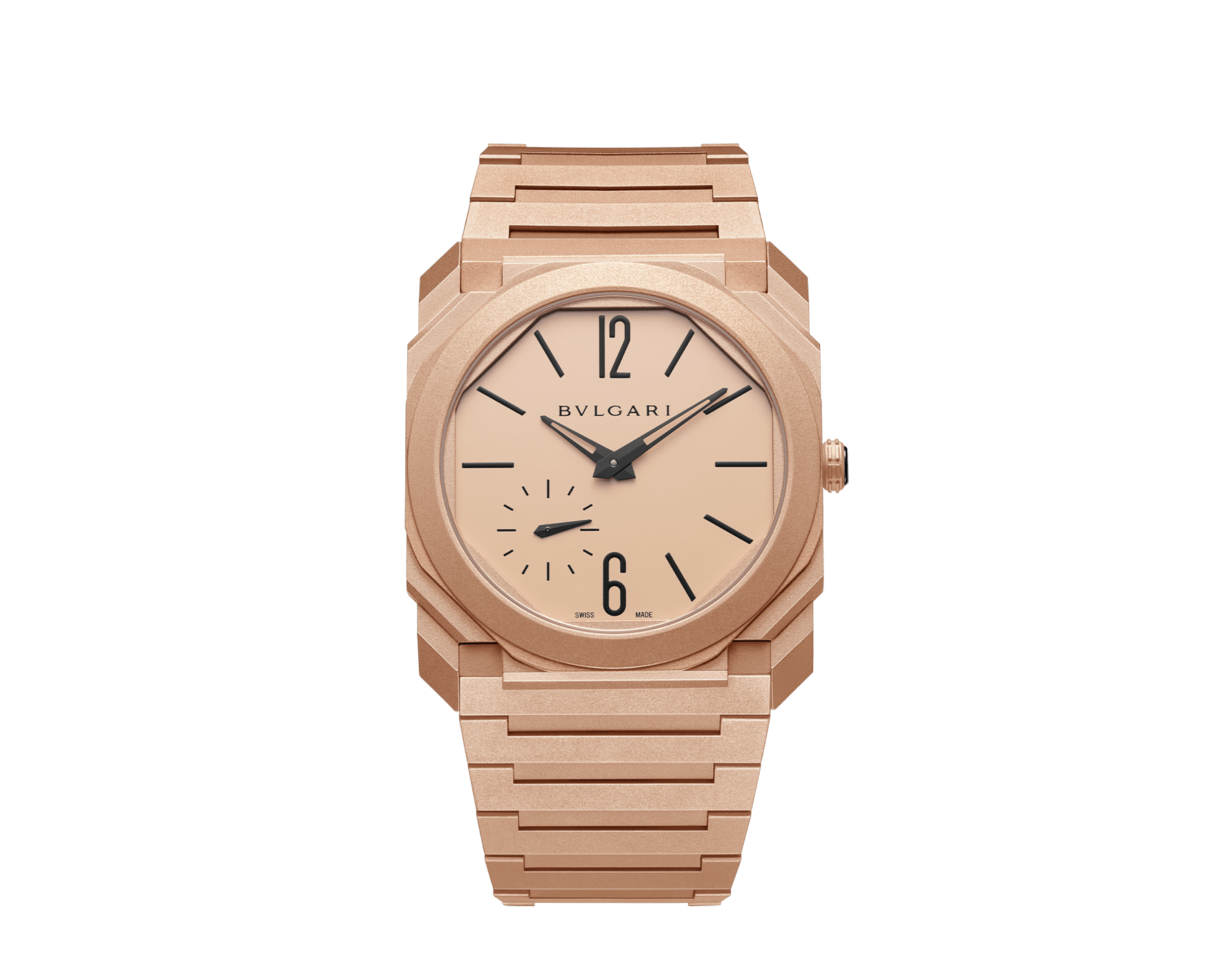 Octo Finissimo Automatic watch with mechanical manufacture movement, automatic winding, platinum microrotor, small seconds, extra-thin sandblasted 18 kt rose gold case and bracelet, and 18 kt rose gold dial 102912 image 1