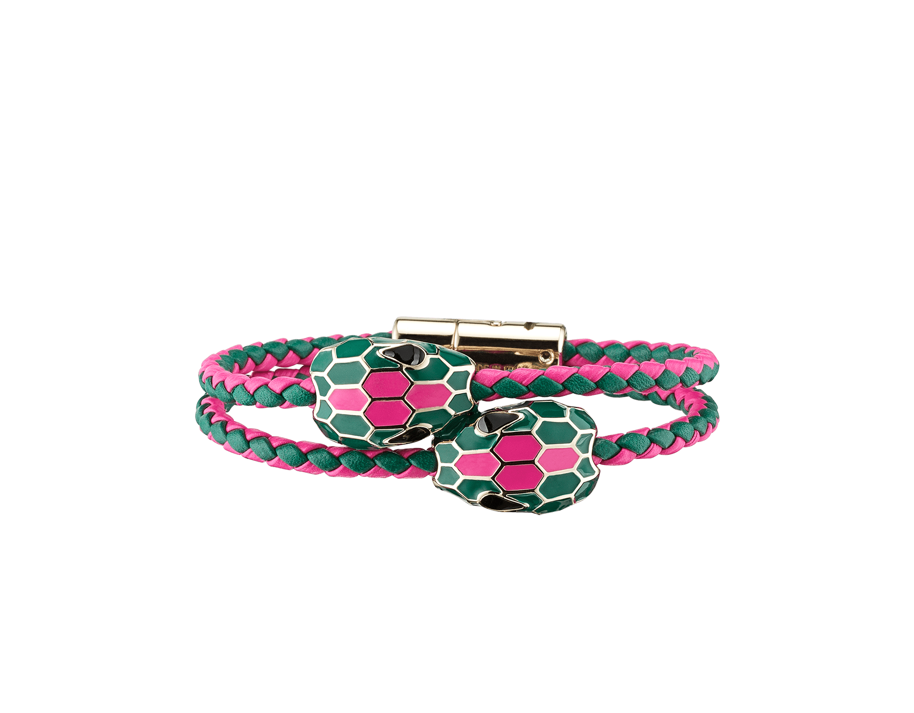 Serpenti Forever double braid bracelet in flash amethyst and emerald green woven calf leather with a double snake head décor in emerald green and flash amethyst enamel. NewDoubleBraid-WCL-FAEG image 1