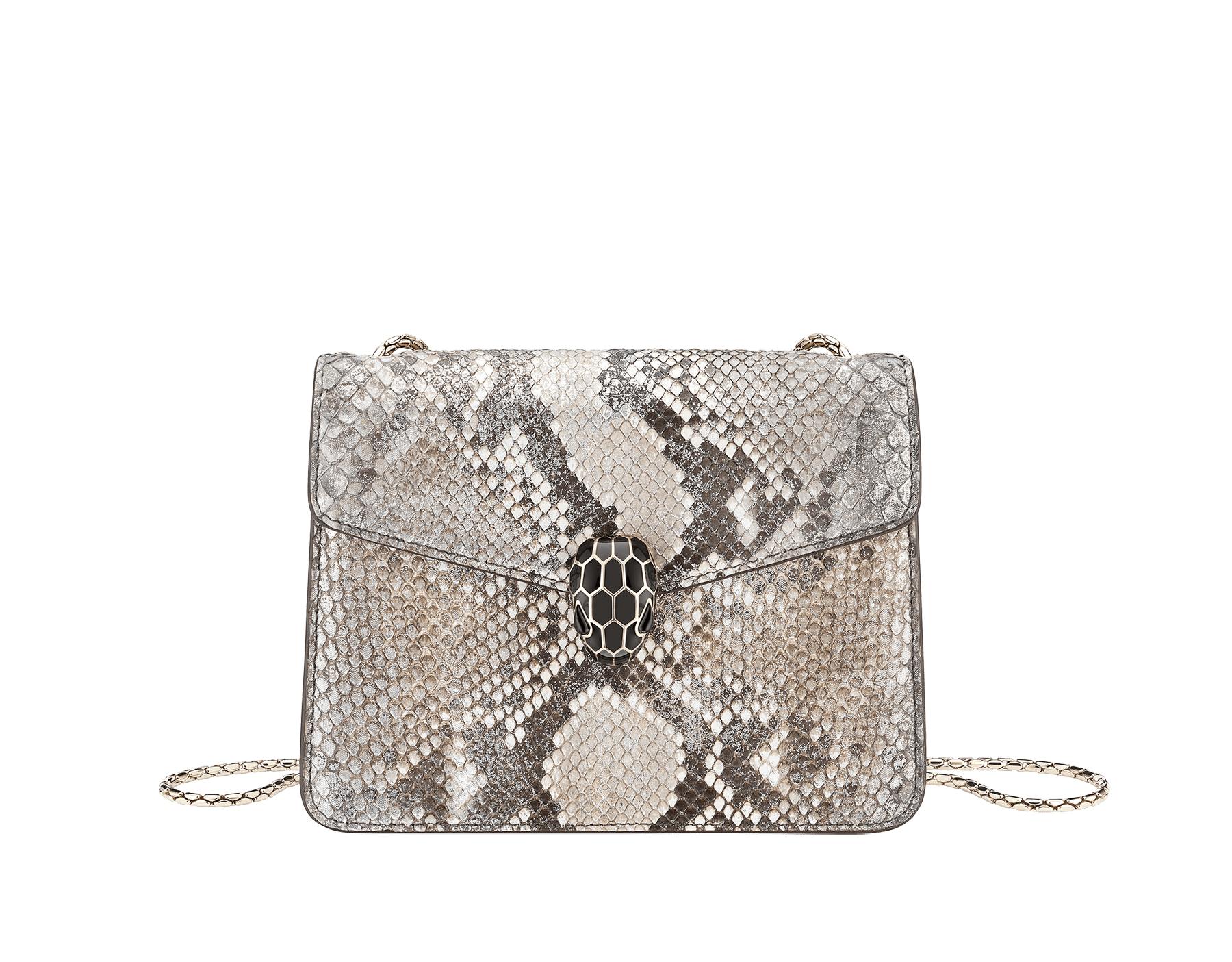 """""""Serpenti Forever"""" crossbody bag in roccia """"Mineral"""" python skin. Iconic snakehead closure in light gold plated brass enriched with black and hawk's eye enamel, and black onyx eyes. 422-Pb image 1"""