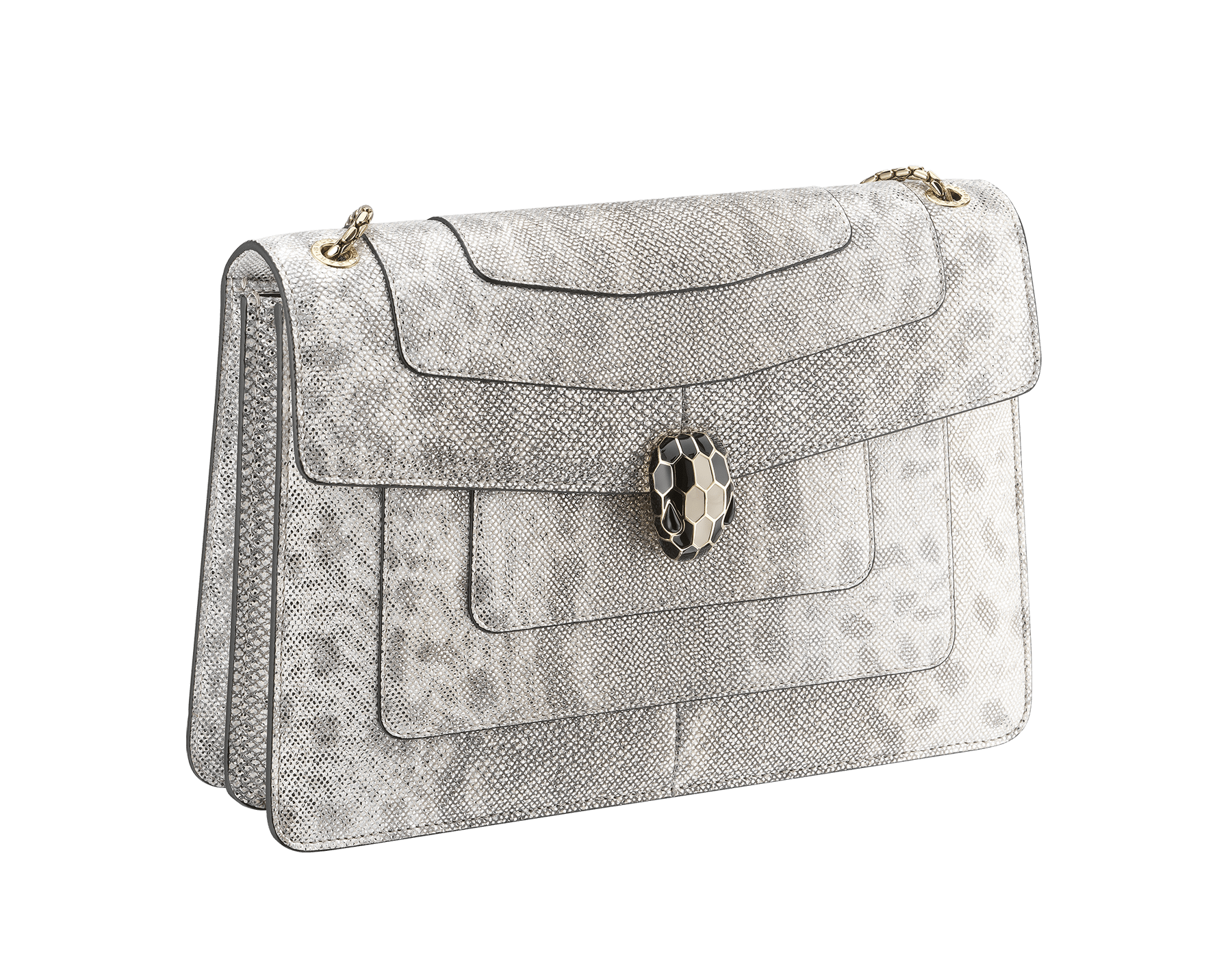 """Serpenti Forever"" shoulder bag in white agate metallic karung skin. Iconic snakehead closure in light gold plated brass enriched with black and white agate enamel and black onyx eyes. 288797 image 2"